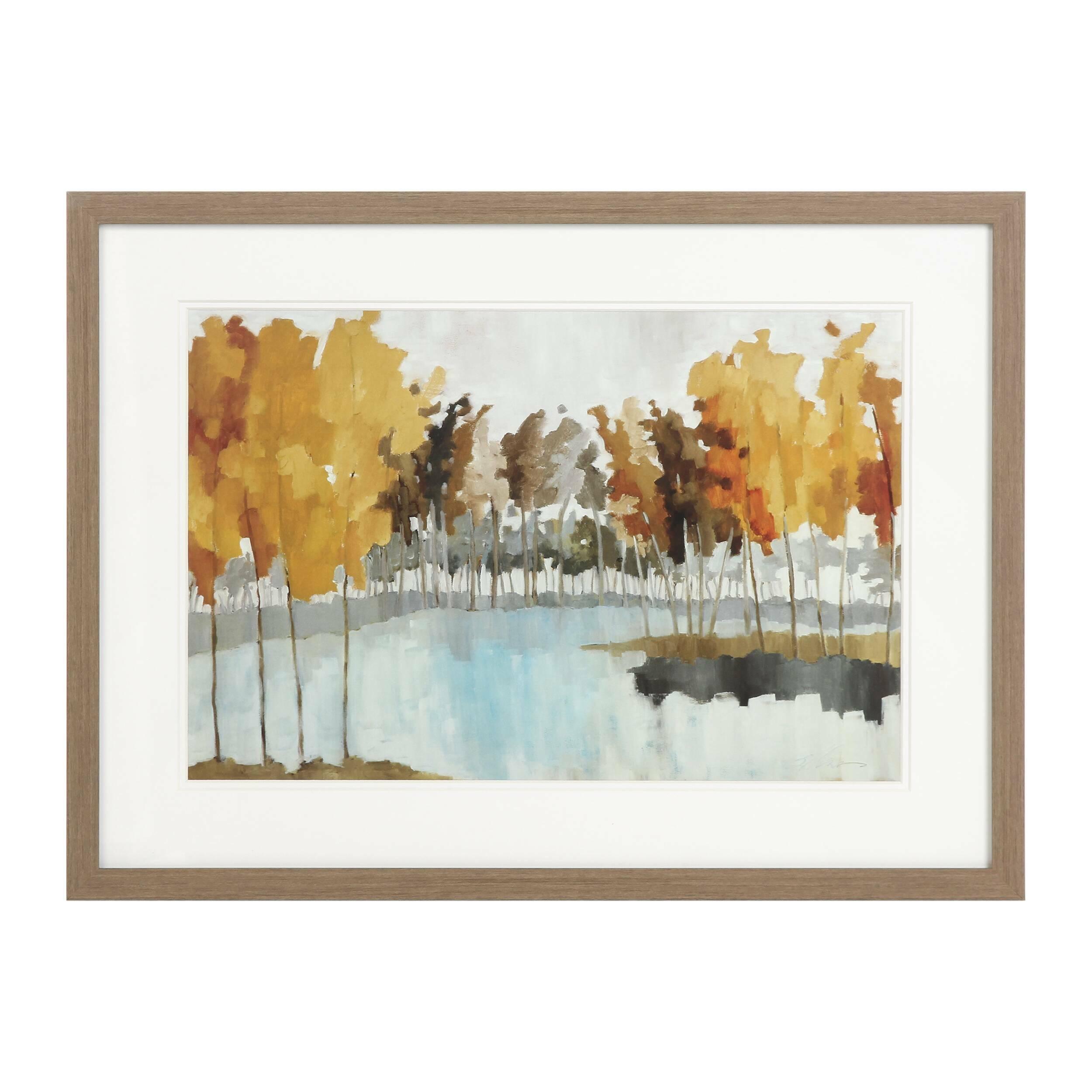 Постер Autumn GroveКартины<br>Пейзаж привносит в помещение особенную, солнечную энергетику – это ценят и любители отдыхать на природе, и те, кто много времени проводит в городских джунглях. Дизайнерский постер Autumn Grove (Осенняя Чаща) – это изображение золотой осенней поры на фоне красивого водоема. Картина обладает спокойным характером и создаст в помещении атмосферу гармонии и умиротворения.<br><br><br> Постер имеет средние размеры, что позволяет украсить им как большую, так и маленькую комнату. Чтобы красиво подчеркн...<br><br>stock: 11<br>Ширина: 44,2<br>Цвет: Разноцветный<br>Длина: 59,2