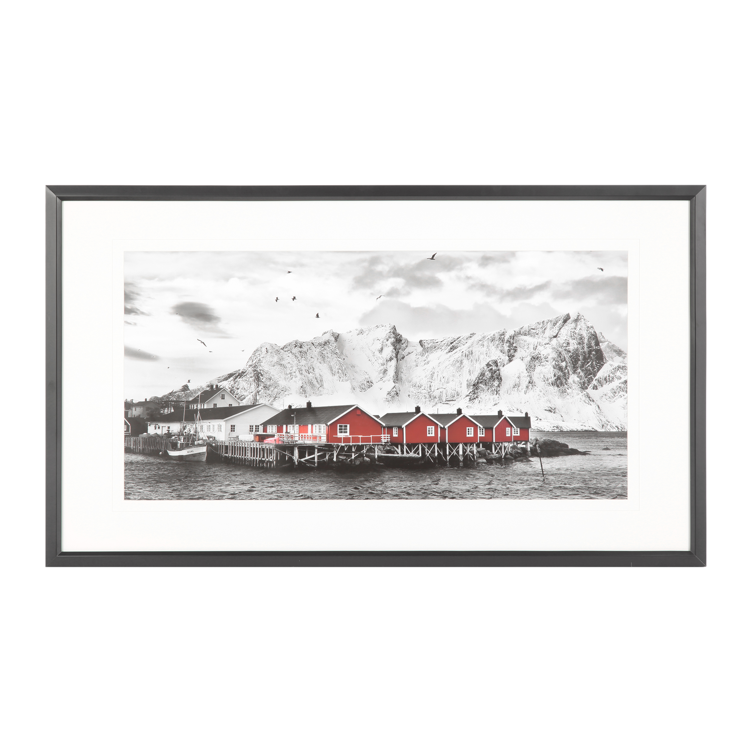 Постер Red Houses on Lofoten midcentury houses today