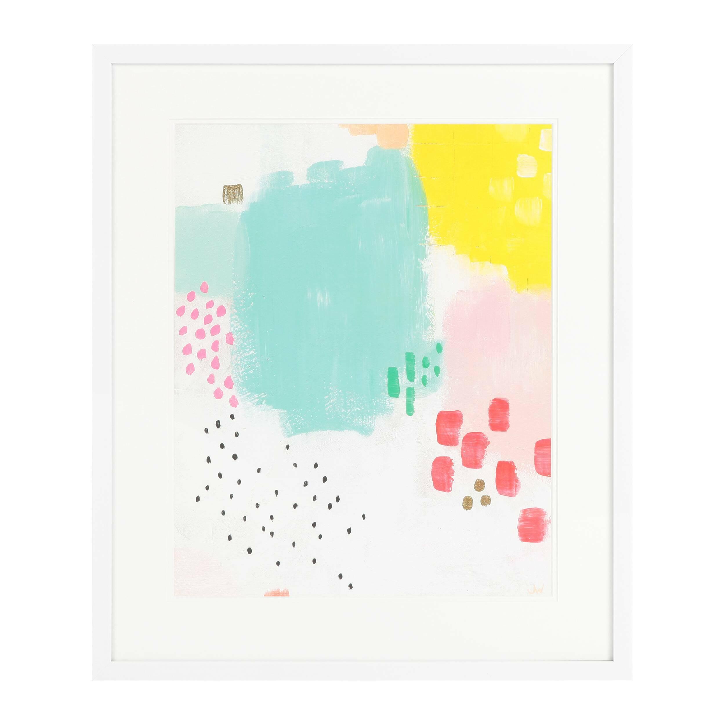 Постер Dots and MottleКартины<br>Дизайнерский постер Dots and Mottle (Дотс энд Мотл) – это оригинальное творение абстрактного жанра, которое сочетает в себе простые формы и красивую, яркую цветовую гамму. Палитра состоит из пастельных оттенков розового, бирюзового, желтого, зеленого и других цветов – замечательный способ привнести в помещение жизнерадостную, солнечную атмосферу.<br><br><br> Dots and Mottle в переводе с английского означает «точки и пятна». Абстракция оформлена в элегантную белоснежную рамку – идеальный вариант...<br><br>stock: 11<br>Ширина: 55,8<br>Цвет: Разноцветный<br>Длина: 65,8