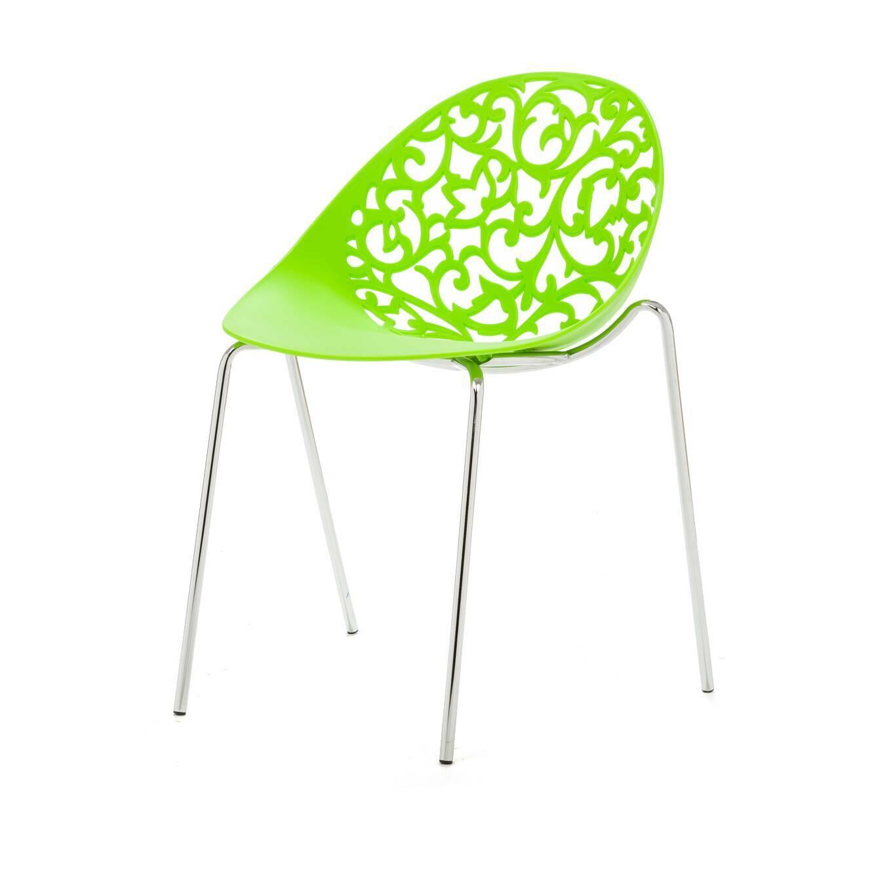 Стул Aurora 1Интерьерные<br>Дизайнерский минималистичный стул Aurora 1 (Аврора 1) на длинных тонких металлических ножках и полипропиленовой спинкой с вырезанным узором от Cosmo (Космо).<br><br><br> Эксклюзивное предложение для ценителей классических, венецианских, восточных интерьеров с ноткой современного минимализма и гламура — стул Aurora 1. Прочные устойчивые ножки изготовлены из хромированной стали, а вогнутое округлое сиденье сделано из цельного полипропилена. Невысокая спинка стула украшена виртуозными резными узорами ...<br><br>stock: 14<br>Высота: 79<br>Высота сиденья: 46<br>Ширина: 50<br>Глубина: 53,5<br>Цвет ножек: Хром<br>Цвет сидения: Зеленый<br>Тип материала сидения: Полипропилен<br>Тип материала ножек: Сталь