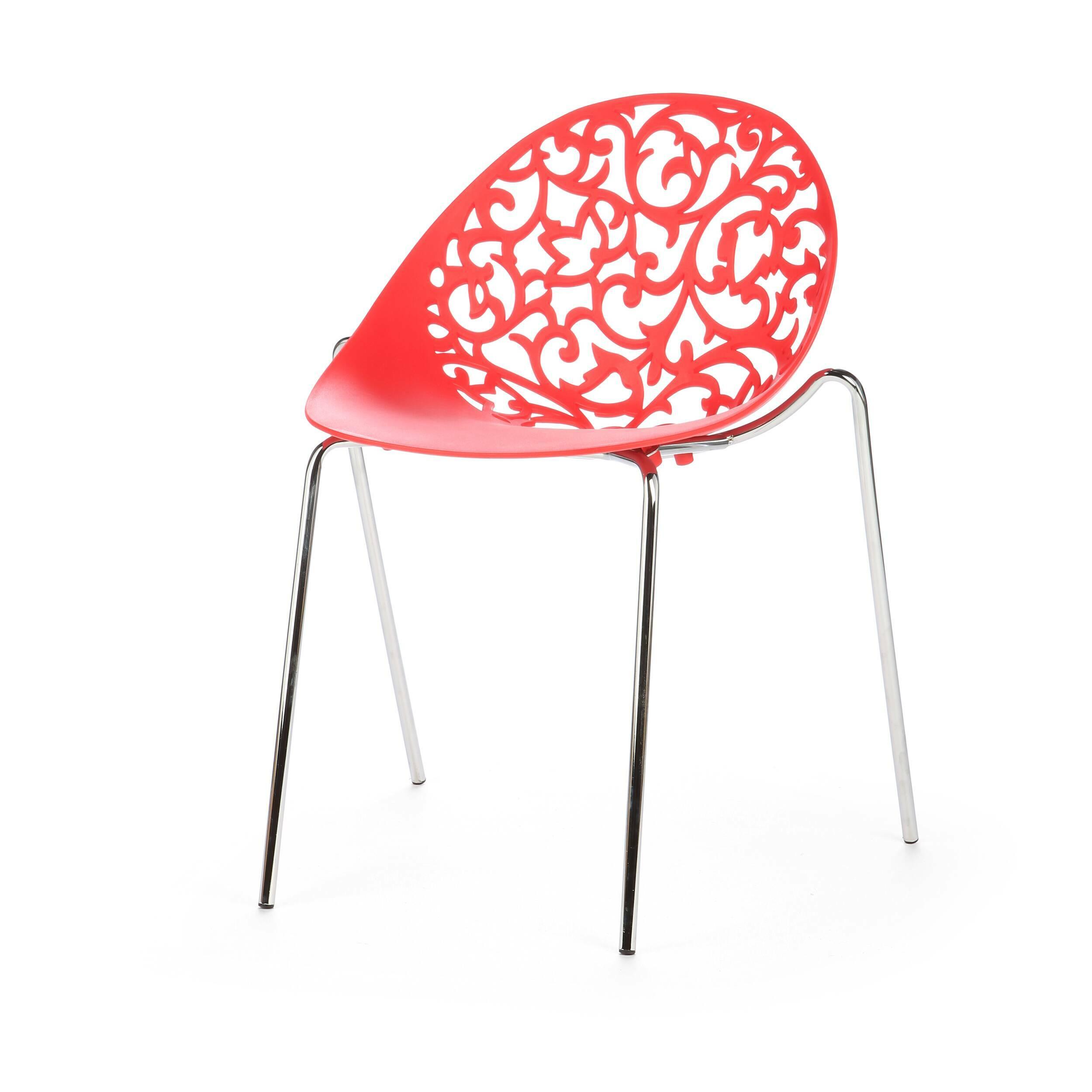 Стул Aurora 1Интерьерные<br>Дизайнерский минималистичный стул Aurora 1 (Аврора 1) на длинных тонких металлических ножках и полипропиленовой спинкой с вырезанным узором от Cosmo (Космо).<br><br><br> Эксклюзивное предложение для ценителей классических, венецианских, восточных интерьеров с ноткой современного минимализма и гламура — стул Aurora 1. Прочные устойчивые ножки изготовлены из хромированной стали, а вогнутое округлое сиденье сделано из цельного полипропилена. Невысокая спинка стула украшена виртуозными резными узорами ...<br><br>stock: 40<br>Высота: 79<br>Высота сиденья: 46<br>Ширина: 50<br>Глубина: 53,5<br>Цвет ножек: Хром<br>Цвет сидения: Красный<br>Тип материала сидения: Полипропилен<br>Тип материала ножек: Сталь