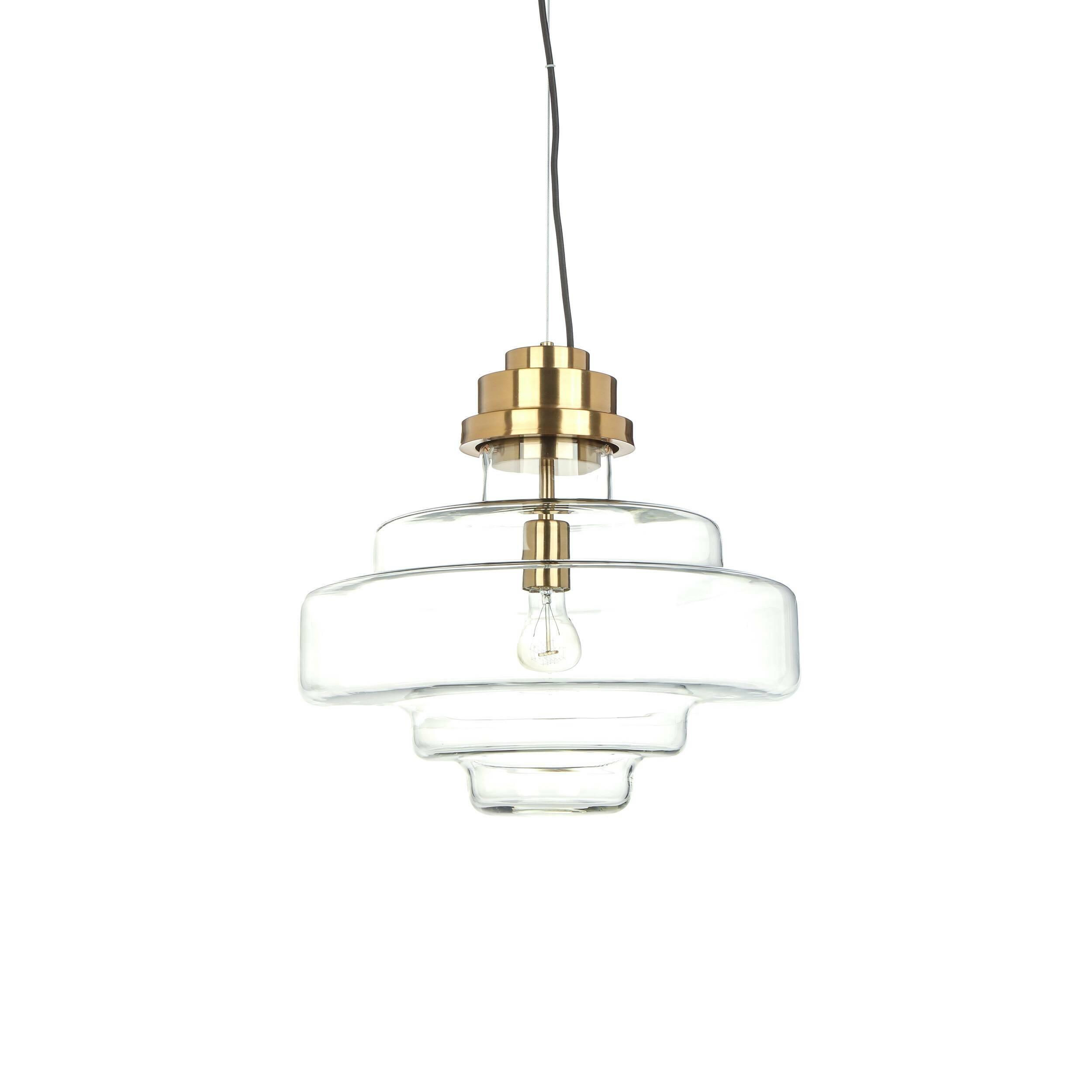 Подвесной светильник Cap FerratПодвесные<br>Дизайнерский подвесной светильник Cap Ferrat (Кап Ферра) представляет собой интересное изделие, которое может стать как элегантным украшением интерьера в стиле модерн, так и стильным дополнением лофт-пространства. Эта модель также особенно приглянется ценителям симметрии и гармонии в окружающей обстановке.<br><br><br> В качестве отделочных материалов в лофте часто присутствует сталь и стекло. Из них сделана и эта модель светильника – его основа изготавливается из стали и обладает потрясающе кр...<br><br>stock: 6<br>Высота: 42<br>Диаметр: 45<br>Материал абажура: Стекло<br>Материал арматуры: Сталь<br>Мощность лампы: 40<br>Ламп в комплекте: Нет<br>Напряжение: 200-240<br>Тип лампы/цоколь: E27<br>Цвет абажура: Прозрачный<br>Цвет арматуры: Золотой<br>Цвет провода: Черный