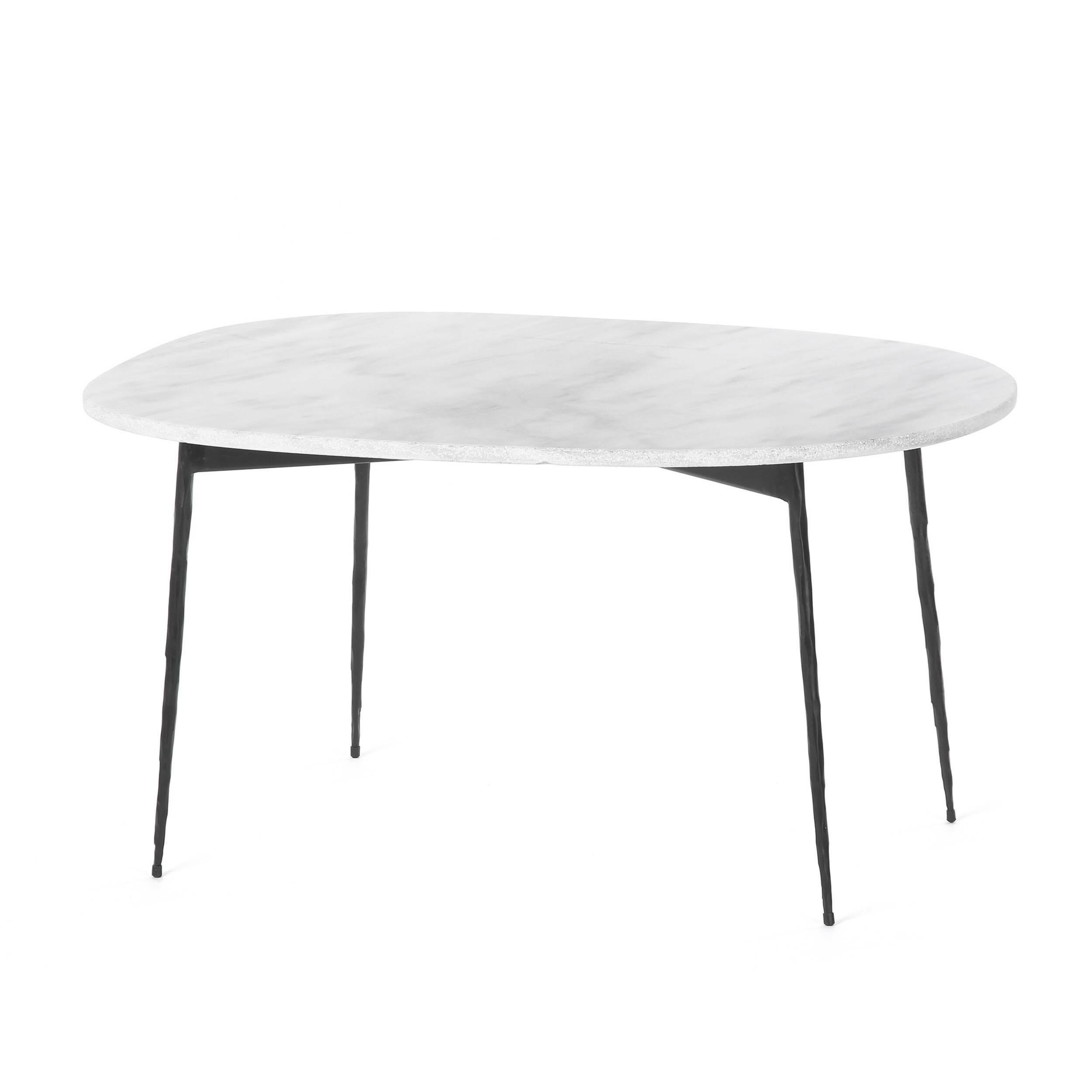 Кофейный стол Michael длина 75,5Кофейные столики<br>Элегантный дизайнерский кофейный стол Michael длина 75,5 – это роскошный функциональный помощник в интерьере. На этот стол поместится все что угодно, от обильно накрытого завтрака до небольших домашних фуршетов и угощений для вечеринки с друзьями.<br><br><br> Эта модель представляет собой воплощение уникального сочетания надежности и изысканной красоты. Это достигается за счет используемого материала – мрамора, который исторически высоко ценится за свои декоративные и физические качества. Благ...<br><br>stock: 6<br>Высота: 39<br>Ширина: 58<br>Длина: 75,5<br>Цвет ножек: Черный<br>Цвет столешницы: Белый<br>Тип материала столешницы: Мрамор<br>Тип материала ножек: Сталь