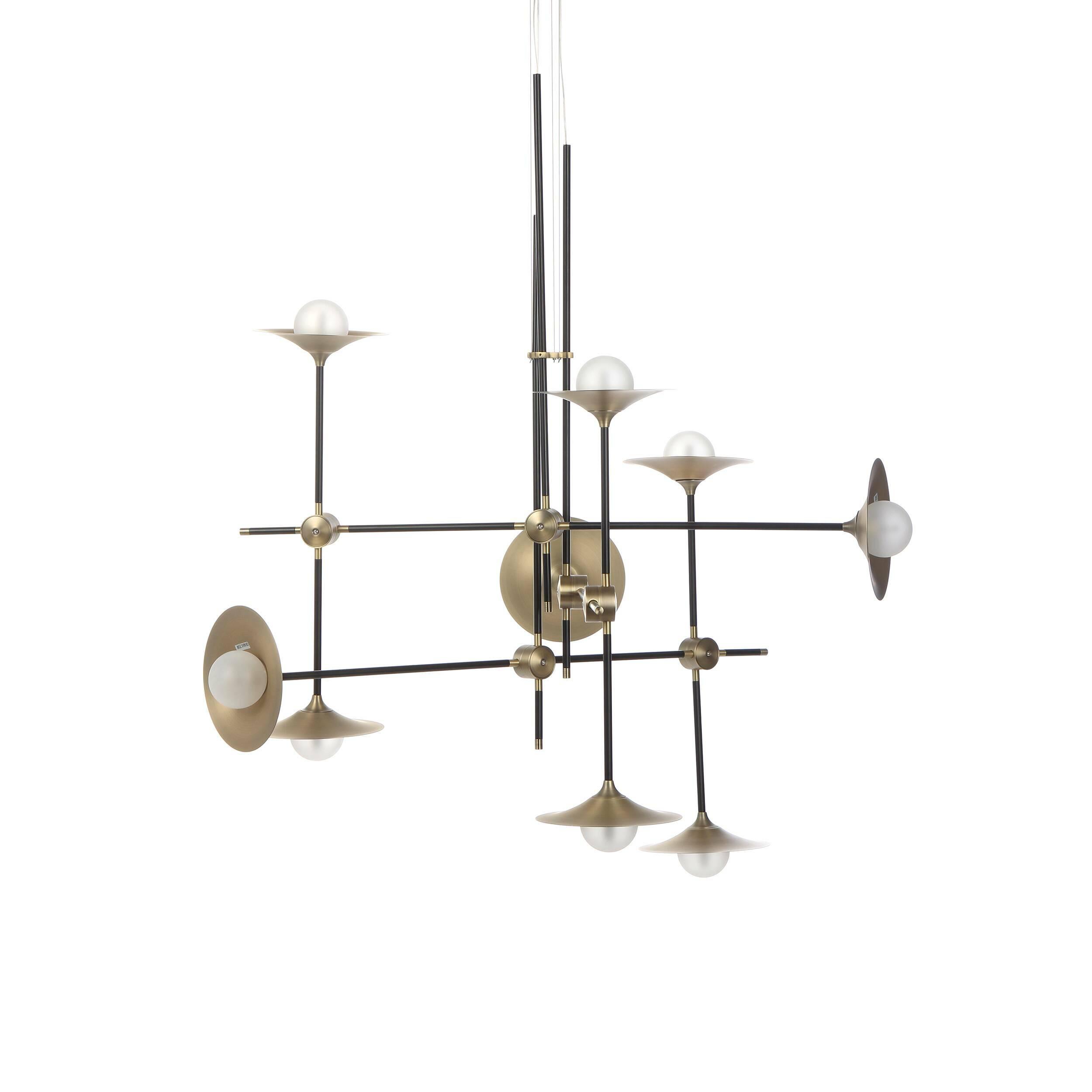 Потолочный светильник Jenkins, 9 лампПотолочные<br>Дизайнерский потолочный светильник Jenkins, 9 ламп представляет собой оригинальную конструкцию из абажуров в стиле минимализм. Сложный на первый взгляд, светильник выполнен из простых лаконичных элементов и может стать отличным дополнением как сложносочиненных интерьеров, так и строгих и минималистичных комнат.<br><br><br> В этом творении прекрасно все – необычная, интересная конструкция, стильная цветовая гамма, тщательно продуманное расположение ламп. Мастера подошли со всей внимательностью ...<br><br>stock: 7<br>Высота: 170<br>Длина: 100<br>Материал абажура: Стекло<br>Материал арматуры: Металл<br>Мощность лампы: 2<br>Тип лампы/цоколь: G9<br>Цвет абажура: Латунь<br>Цвет арматуры: Черный матовый