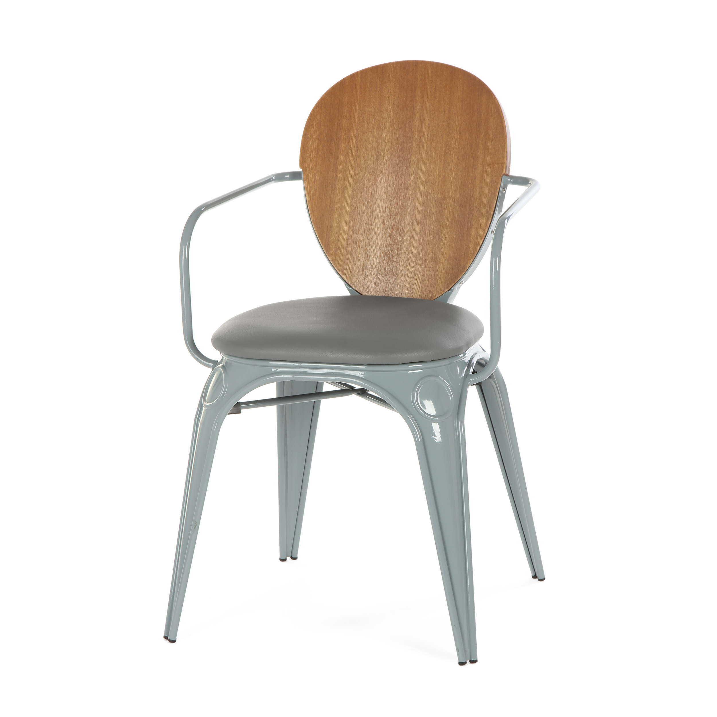 Стул Louix с подушкойИнтерьерные<br>Дизайнерский стул Louix (Луи) из стали с кожаным сиденьем и деревянной спинкой от Cosmo (Космо).<br><br>     Дизайнер Александр Аразола виртуозно соединил практичность и эстетику. Его творения не просто стильные, они имеют свой характер, свое настроение. Легкость и простота присутствуют и в этом стуле.<br><br><br>     Светлый и оригинальный, прочный и надежный, стул Louix с подушкой спроектирован в чистом французском стиле, на стыке индустриальной техники, популярной во Франции в 20-х годах ХХ века, и ...<br><br>stock: 14<br>Высота: 83.5<br>Высота сиденья: 46<br>Ширина: 60<br>Глубина: 52<br>Цвет спинки: Коричневый<br>Материал спинки: Фанера, шпон ивы<br>Тип материала каркаса: Сталь<br>Материал сидения: Полиуретан<br>Цвет сидения: Серый<br>Тип материала спинки: Фанера<br>Тип материала сидения: Кожа искусственная<br>Цвет каркаса: Теплый серый