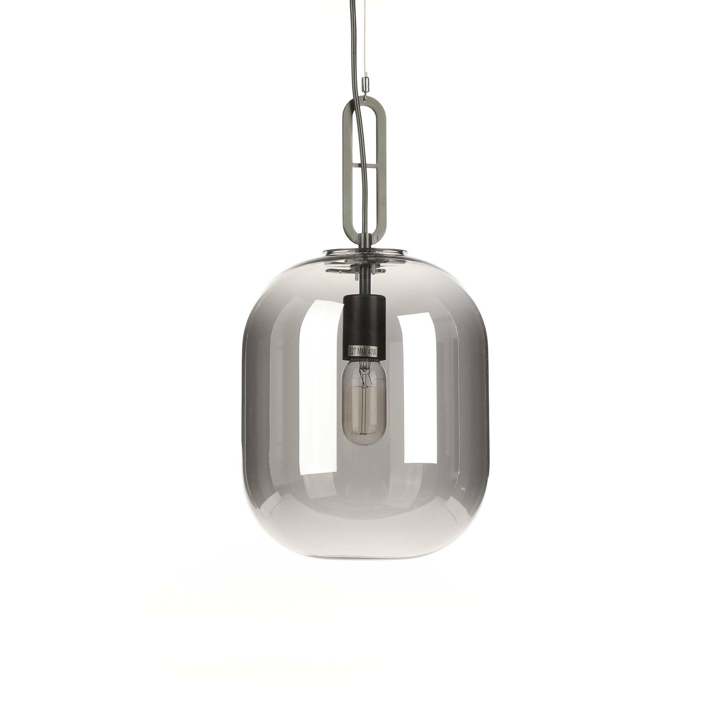 Подвесной светильник Zane диаметр 25Подвесные<br>В качестве светильников в лофт-пространстве могут использоваться самые разные варианты, от сложных композиций из множества ламп до минималистичных моделей. Дизайнерский подвесной светильник Zane диаметр 25 – это прекрасный источник освещения в эпатажном стиле лофт, который станет отличным украшением и функциональной частью этого необычного интерьера.<br><br><br> Для создания этой модели мастера взяли наиболее часто используемые для таких изделий материалы, это прозрачное стекло с легким оттенк...<br><br>stock: 15<br>Высота: 45<br>Диаметр: 25<br>Материал абажура: Стекло<br>Материал арматуры: Металл<br>Мощность лампы: 40<br>Тип лампы/цоколь: E27<br>Цвет абажура: Серый