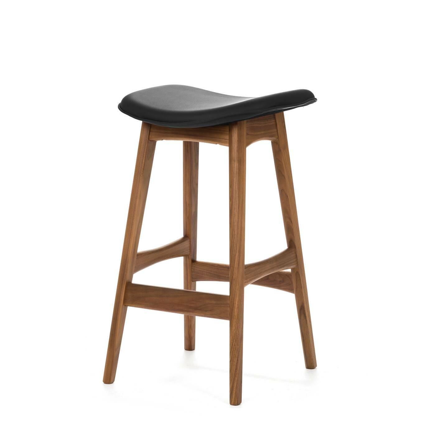 Барный стул Allegra высота 67Полубарные<br>Первоначально разработанный Йоханнесом Андерсеном в 1961 году, барный стул Allegra высота 67 — простое, но шикарное дополнение к любому дому или офису. С сиденьем, находящимся на уровне 76 сантиметров, этот стильный стул практичен и современен.<br><br><br> Высококачественная рама барного стула Allegra высота 67 выполнена из ореха, а сиденье — из мягкой кожи, которую к тому же легко чистить. Сиденье шириной 40 сантиметров подстроено под анатомические линии тела. Красное, белое и черное цветовое...<br><br>stock: 0<br>Высота: 66,5<br>Ширина: 40<br>Глубина: 38,5<br>Цвет ножек: Орех<br>Материал ножек: Массив ореха<br>Цвет сидения: Черный<br>Тип материала сидения: Кожа<br>Коллекция ткани: Premium Leather<br>Тип материала ножек: Дерево
