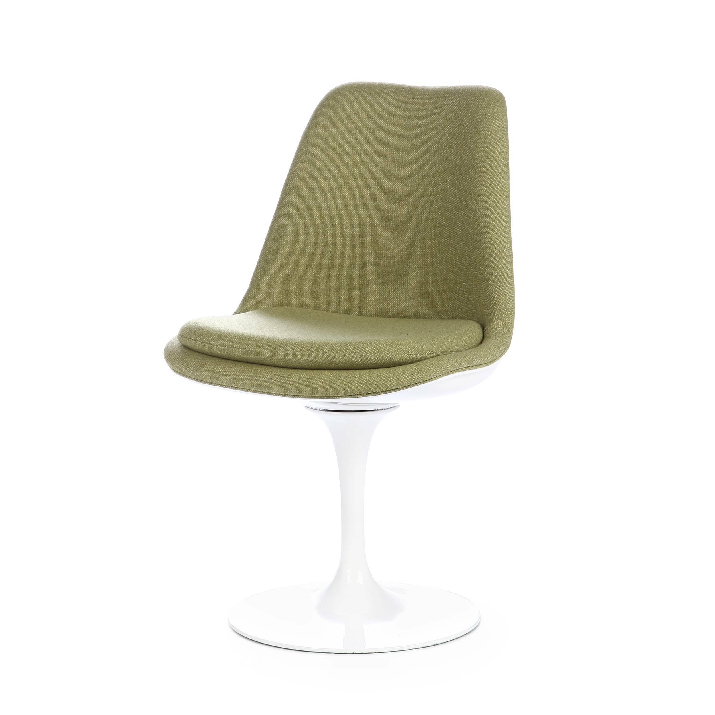 Стул Tulip с обитой спинкойИнтерьерные<br>Дизайнерский тканевый стул Tulip (Тьюлип) с обитой спинкой и с каркасом из стекловолокна от Cosmo (Космо).<br><br><br> Стул Tulip — это один из самых знаменитых предметов мебели, он был разработан в 1958 году Ээро Саариненом. Поистине футуристический дизайн и классика модерна. Первый в мире одноногий стул изменил будущее дизайна мебели. Формой стул напоминает бокал или, как видно из названия, — тюльпан. Уникальное основание постамента обеспечивает устойчивость и выглядит эстетически привлекательным...<br><br>stock: 0<br>Высота: 82,5<br>Высота сиденья: 47<br>Ширина: 50,5<br>Глубина: 54,5<br>Тип материала каркаса: Стекловолокно<br>Материал сидения: Шерсть, Нейлон<br>Цвет сидения: Зеленый<br>Тип материала сидения: Ткань<br>Коллекция ткани: B Fabric<br>Цвет каркаса: Белый глянец