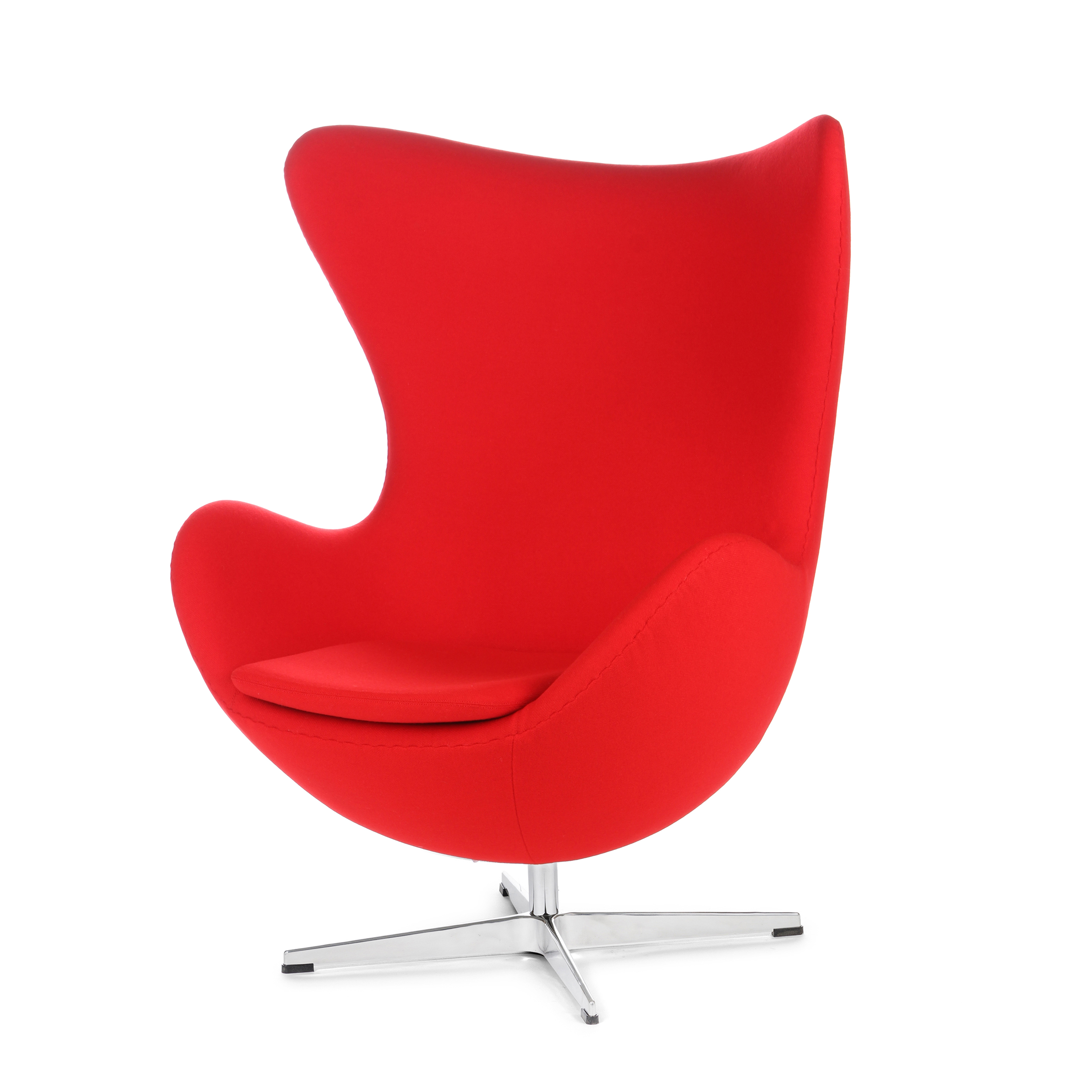 Кресло EggИнтерьерные<br>Дизайнерское комфортное кресло Egg (Эгг) в форме яйца на узкой ножке от Cosmo (Космо).<br><br><br> Кресло, своими очертаниями напоминающее яйцо, — одно из самых известных творений датского дизайнера Арне Якобсена. Вряд ли оно когда-нибудь выйдет из моды — уж слишком велик диапазон его интерьерных возможностей. Кроме того, обыгрывать данную форму помогают различные фактуры и цвета обивок.<br><br><br> Особенно приятно и солидно смотрится оригинальное кресло Egg в обивке из натуральной кожи, представлен...<br><br>stock: 0<br>Высота: 105,5<br>Высота сиденья: 41<br>Ширина: 87<br>Глубина: 82<br>Цвет ножек: Хром<br>Материал обивки: Шерсть, Нейлон<br>Коллекция ткани: T Fabric<br>Тип материала обивки: Ткань<br>Тип материала ножек: Алюминий<br>Цвет обивки: Красный