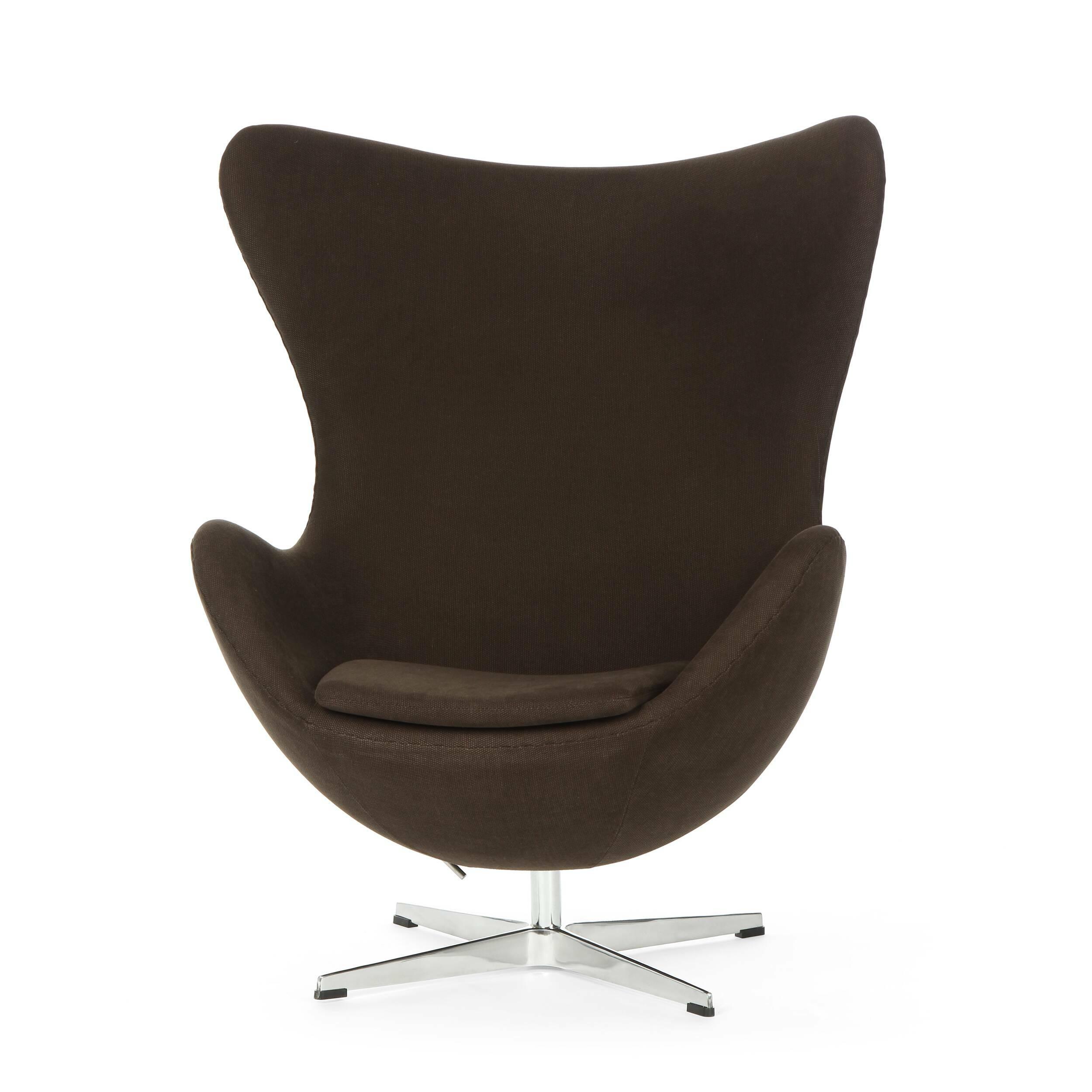 Кресло EggИнтерьерные<br>Дизайнерское комфортное кресло Egg (Эгг) в форме яйца на узкой ножке от Cosmo (Космо).<br><br><br> Кресло, своими очертаниями напоминающее яйцо, — одно из самых известных творений датского дизайнера Арне Якобсена. Вряд ли оно когда-нибудь выйдет из моды — уж слишком велик диапазон его интерьерных возможностей. Кроме того, обыгрывать данную форму помогают различные фактуры и цвета обивок.<br><br><br> Особенно приятно и солидно смотрится оригинальное кресло Egg в обивке из натуральной кожи, представлен...<br><br>stock: 2<br>Высота: 105,5<br>Высота сиденья: 41<br>Ширина: 87<br>Глубина: 82<br>Цвет ножек: Хром<br>Материал обивки: Хлопок<br>Коллекция ткани: Charles Fabric<br>Тип материала обивки: Ткань<br>Тип материала ножек: Алюминий<br>Цвет обивки: Тёмно-коричневый