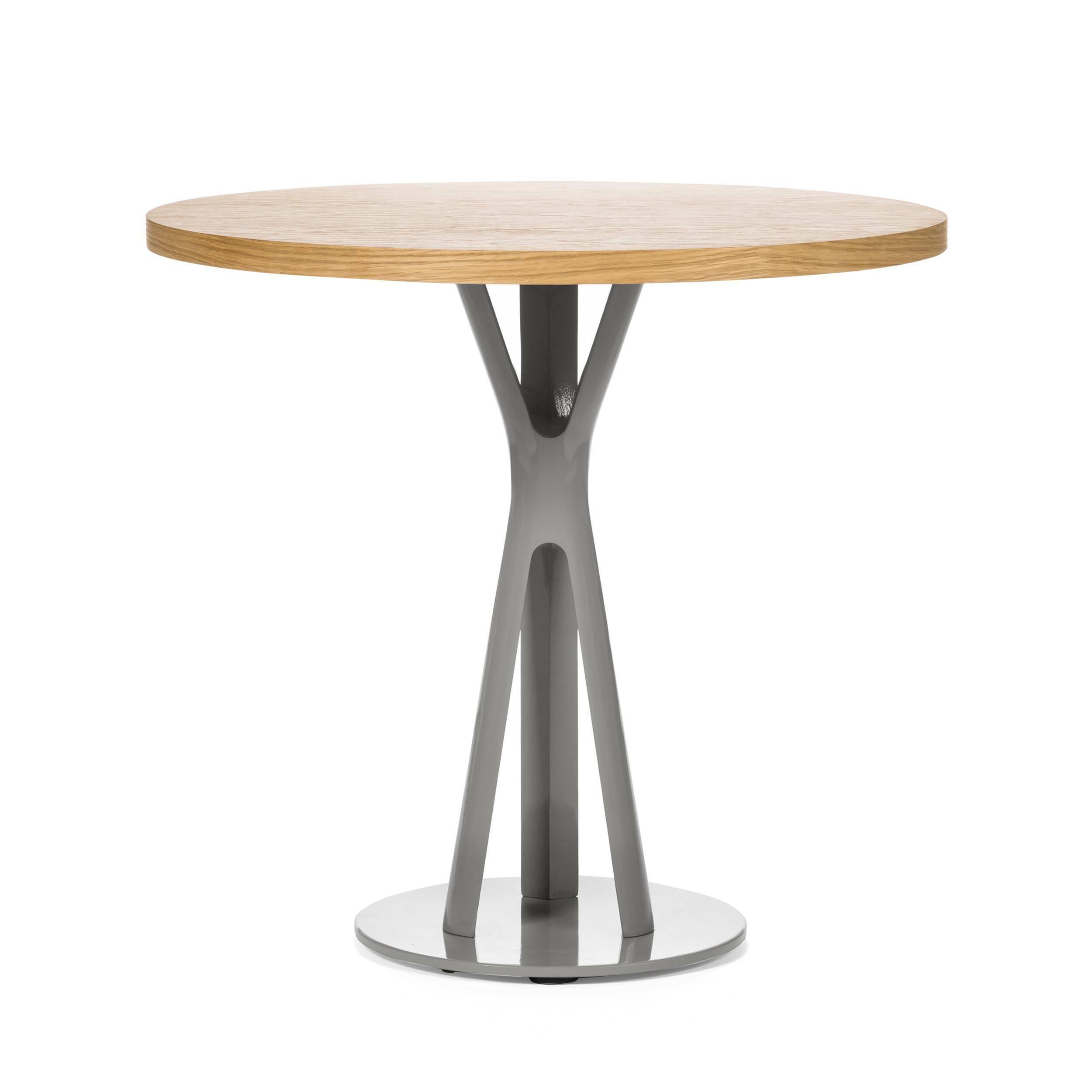 Обеденный стол Split круглыйОбеденные<br>Дизайнерская круглый узкий обеденный стол Split из массива ореха на необычных металлических ножках от Cosmo (Космо).<br>         Обеденный стол играет первую скрипку в столовой, ведь он — центр притяжения всего дома. Он может быть круглым или прямоугольным, раздвижным или миниатюрным, оригинальным или простым, но без него не обойтись. Сегодня на ваш выбор представлены сотни моделей, главное — понять, сколько человек будут регулярно за ним усаживаться и каким целям он будет служить.<br><br><br>       ...<br><br>stock: 0<br>Высота: 75<br>Диаметр: 80<br>Цвет ножек: Светло-серый<br>Цвет столешницы: Светло-коричневый<br>Материал столешницы: Фанера, шпон дуба<br>Тип материала столешницы: Фанера<br>Тип материала ножек: Сталь