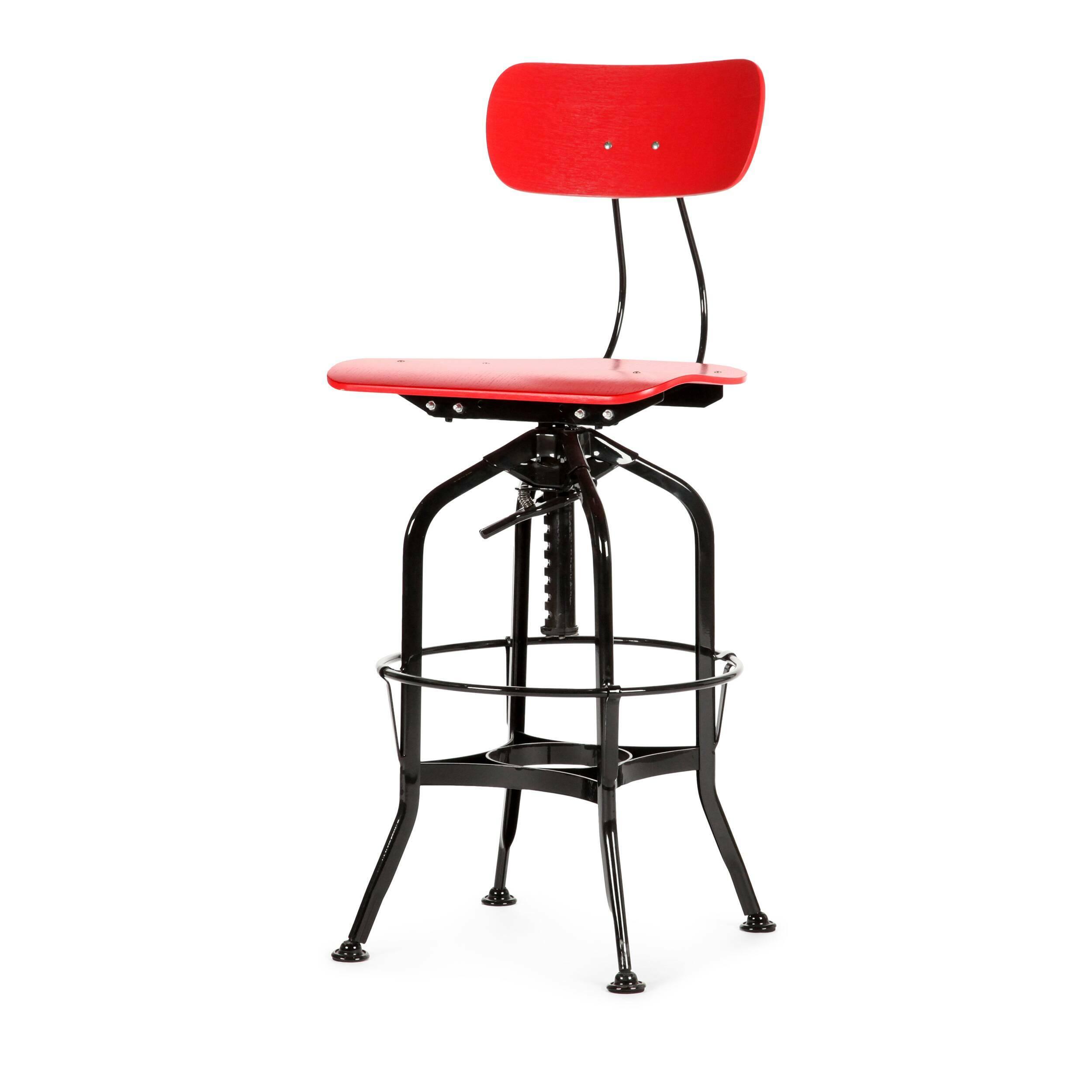 Барный стул Toledo WoodБарные<br>Дизайнерский цветной барный стул Toledo Wood (Толедо Вуд) из фанеры на черных ножках от Cosmo (Космо). <br><br> Целевыми помещениями для использования стульев Toledo изначально были офисы, заводы, аптеки и тому подобные места. Однако под влиянием веяний модных дизайнерских тенденций появилась новая модель — для ресторанов, молодежных клубов и баров.<br><br><br> Замысловатый каркас из стали, выполненный в черном или металлическом цвете, представлен системой «паучьи лапки», как назвали это сами дизайне...<br><br>stock: 30<br>Высота: 97<br>Высота сиденья: 64-75<br>Ширина: 42<br>Глубина: 48<br>Цвет ножек: Черный<br>Материал сидения: Фанера, шпон дуба<br>Цвет сидения: Красный<br>Тип материала сидения: Фанера<br>Тип материала ножек: Сталь