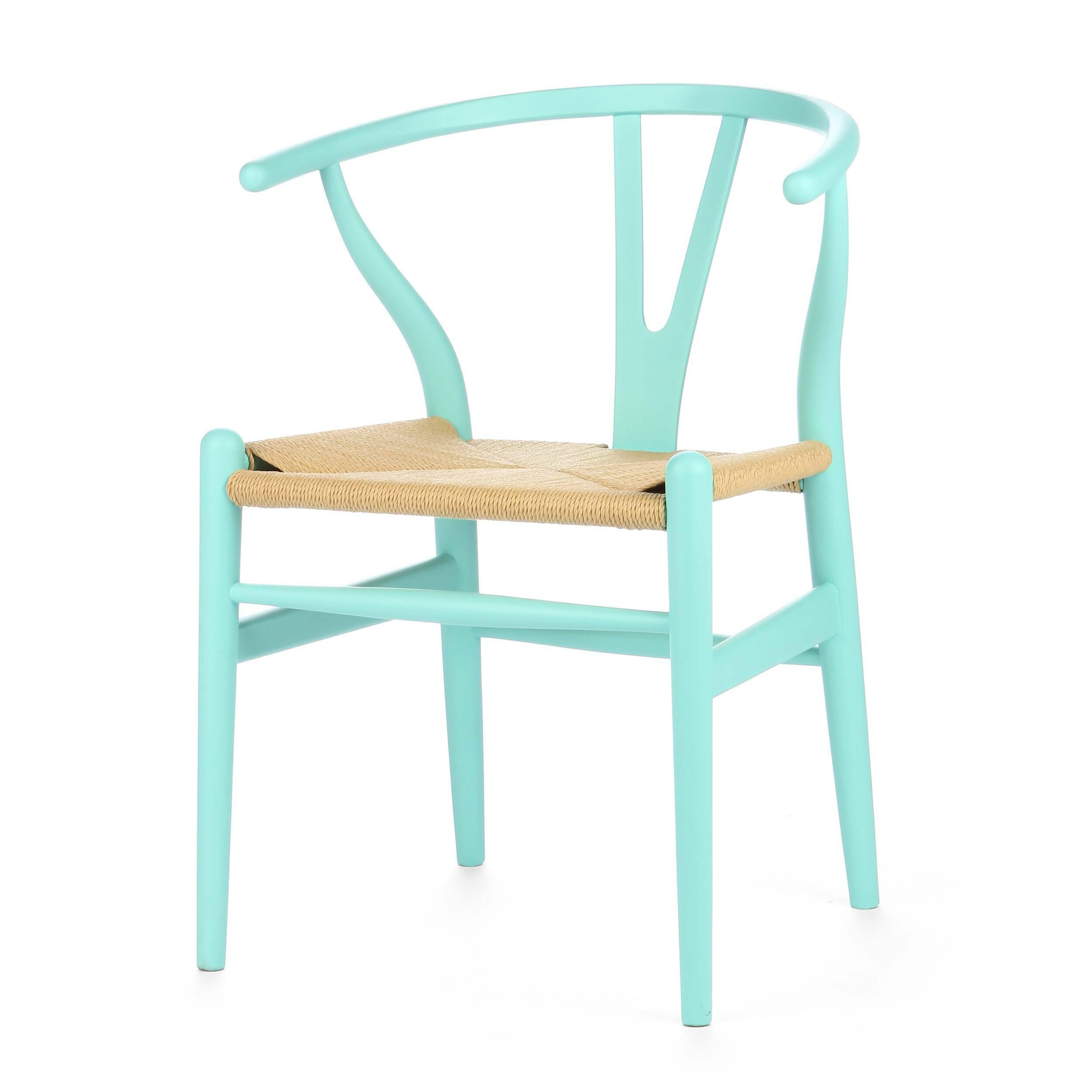Стул Wishbone окрашеныйИнтерьерные<br>Дизайнерский деревянный стул Wishbone (Уишбон) с бумажным сиденьем от Cosmo (Космо).<br><br> Стул Wishbone был разработан в 1949 году передовым датским дизайнером мебели Хансом Вегнером. Стул Wishbone был создан под впечатлением от просмотра классических портретов датских торговцев, сидящих на китайских стульях династии Мин. Свое название стул Wishbone («вилка») получил за специфическую форму спинки сиденья.<br><br><br> Также известный как CH24, стул Wishbone окрашенный широко используется при оформле...<br><br>stock: 0<br>Высота: 76<br>Высота сиденья: 45<br>Ширина: 55,5<br>Глубина: 53,5<br>Материал каркаса: Массив бука<br>Тип материала каркаса: Дерево<br>Цвет сидения: Бежевый<br>Тип материала сидения: Корд бумажный<br>Цвет каркаса: Бирюзовый