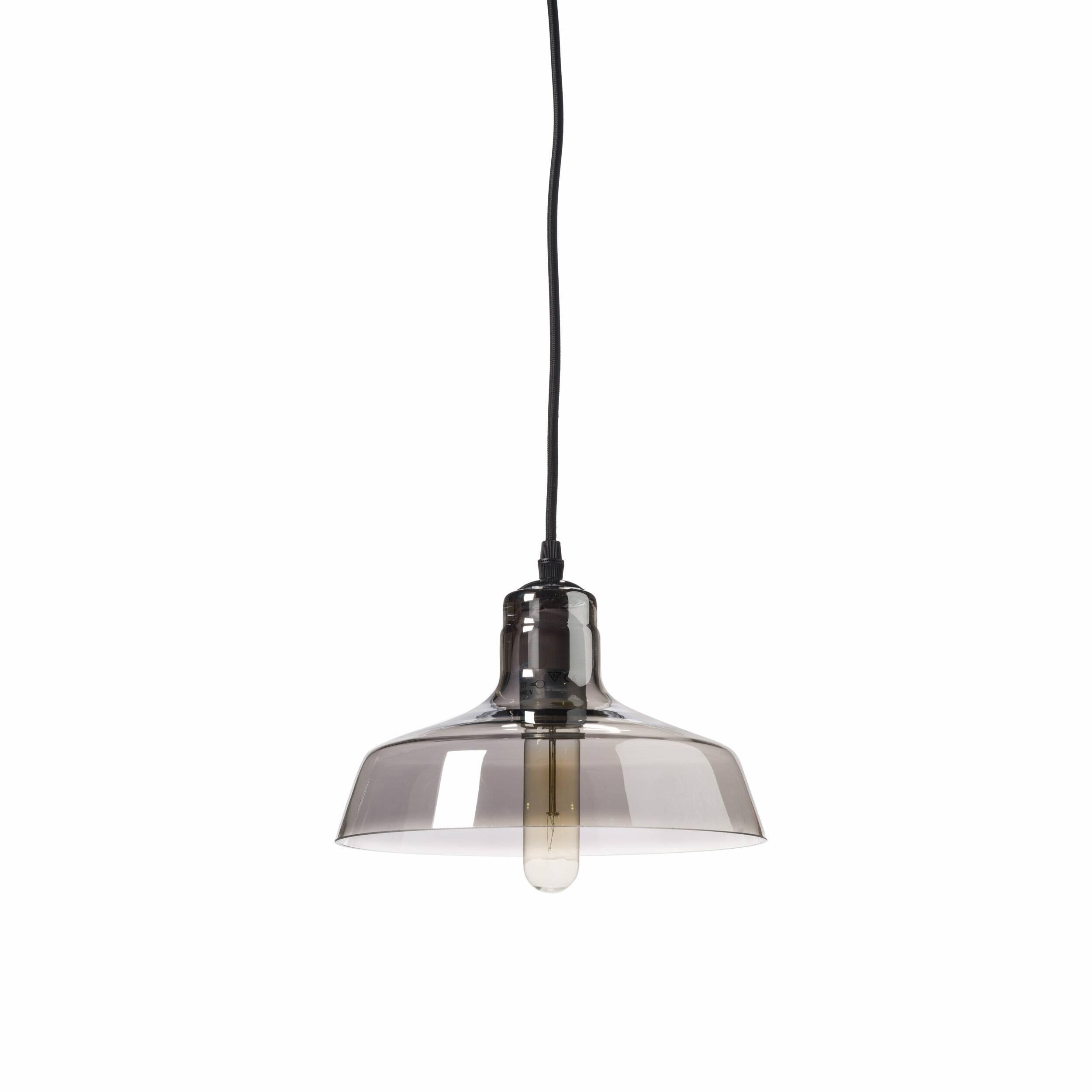 Подвесной светильник BoweryПодвесные<br>Оформление комнат в нестандартном стиле под названием лофт дает безграничный полет для фантазии и обычно требует немалого пространства для реализации дизайнерских идей. Подвесной светильник Bowery прекрасно подходит для достижения ощущения свободы в любом помещении.<br><br><br> Полупрозрачный и невероятно легкий на вид, данный светильник в стиле лофт идеально впишется в окружающую обстановку. Основа светильника изготовлена из стали черного цвета, а у полупрозрачного стеклянного плафона имеются...<br><br>stock: 0<br>Высота: 17<br>Длина: 24<br>Длина провода: 150<br>Количество ламп: 1<br>Материал абажура: Стекло<br>Материал арматуры: Сталь<br>Мощность лампы: 40<br>Ламп в комплекте: Нет<br>Напряжение: 220<br>Тип лампы/цоколь: E27<br>Цвет абажура: Дымчато-серый<br>Цвет арматуры: Черный<br>Цвет провода: Черный