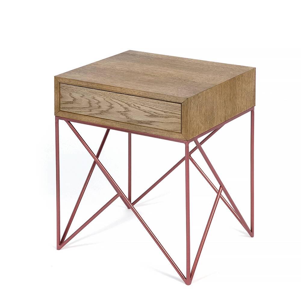 Прикроватная тумба с ящиком Prince box copper темный дубТумбы и комоды<br><br><br>stock: 0<br>Высота: 57<br>Ширина: 38<br>Длина: 45<br>Цвет столешницы: Тёмный дуб<br>Материал каркаса: Сталь<br>Материал столешницы: Натуральный шпон дуба<br>Тип материала каркаса: Металл<br>Тип материала столешницы: Дерево<br>Цвет каркаса: Медный