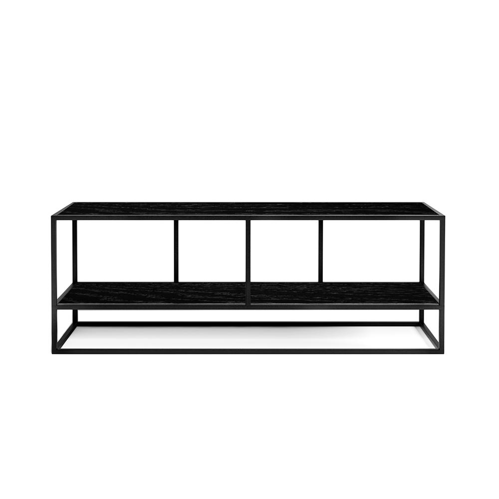 Тумба TV stand lite 2 black черный дубТумбы и комоды<br><br><br>stock: 0<br>Высота: 45<br>Ширина: 35<br>Длина: 120<br>Цвет столешницы: Черный дуб матовый лак<br>Материал каркаса: Сталь<br>Материал столешницы: Натуральный шпон дуба<br>Тип материала каркаса: Металл<br>Тип материала столешницы: Дерево<br>Цвет каркаса: Черный