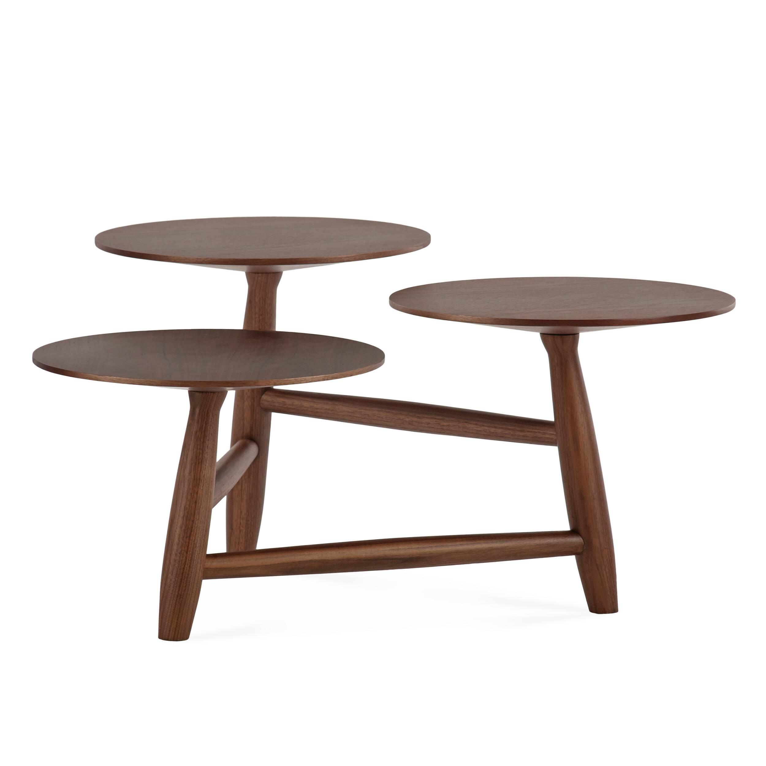 Кофейный стол Tripod высота 40Кофейные столики<br>Дизайнерский кофейный стол Tripod (Трайпод) с высотой 40 см из дерева от Cosmo (Космо).<br><br><br> Данная модель — один из кофейных столов Tripod от именитого американского дизайнера Шона Дикса. Дикс родился в США, но за годы своего становления в качестве дизайнера успел сменить немало стран и, используя их культурное наследие, создал свой неповторимый дизайнерский стиль.<br> <br> Красивый эклектичный дизайн кофейного стола Tripod высота 40 идеально дополнит любой интерьер в современном стиле, став гл...<br><br>stock: 0<br>Высота: 40<br>Ширина: 77,2<br>Длина: 83<br>Цвет ножек: Орех американский<br>Цвет столешницы: Орех американский<br>Материал ножек: Массив ореха<br>Материал столешницы: Фанера, шпон ореха<br>Тип материала столешницы: Фанера<br>Тип материала ножек: Дерево