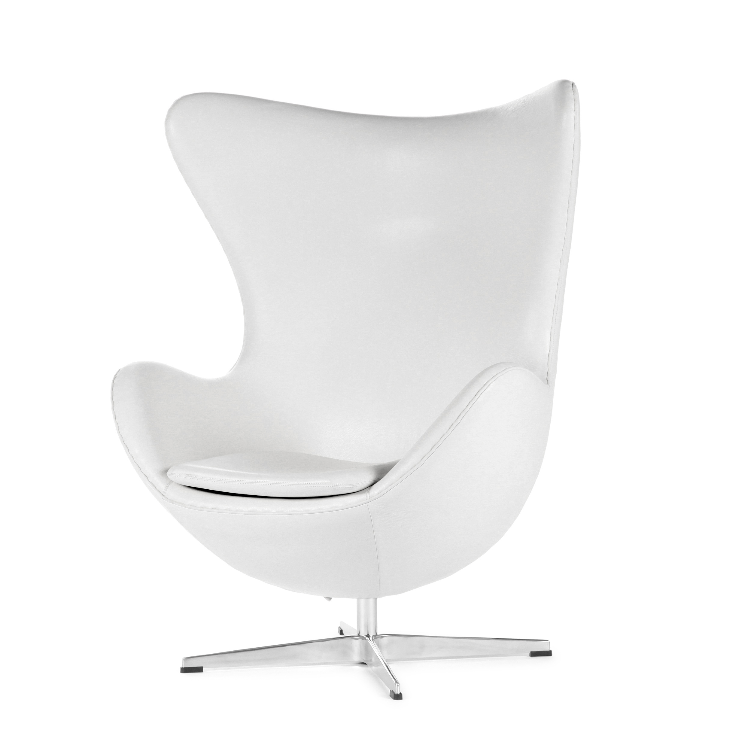 Кресло EggИнтерьерные<br>Дизайнерское комфортное кресло Egg (Эгг) в форме яйца на узкой ножке от Cosmo (Космо).<br><br><br> Кресло, своими очертаниями напоминающее яйцо, — одно из самых известных творений датского дизайнера Арне Якобсена. Вряд ли оно когда-нибудь выйдет из моды — уж слишком велик диапазон его интерьерных возможностей. Кроме того, обыгрывать данную форму помогают различные фактуры и цвета обивок.<br><br><br> Особенно приятно и солидно смотрится оригинальное кресло Egg в обивке из натуральной кожи, представлен...<br><br>stock: 1<br>Высота: 105,5<br>Высота сиденья: 41<br>Ширина: 87<br>Глубина: 82<br>Цвет ножек: Хром<br>Коллекция ткани: Harry Leather<br>Тип материала обивки: Кожа<br>Тип материала ножек: Алюминий<br>Цвет обивки: Белый