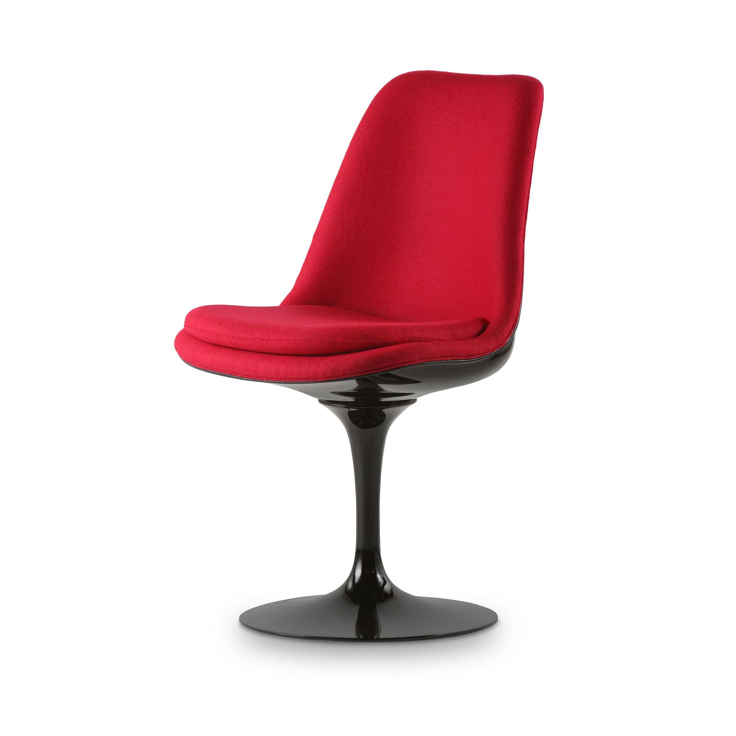 Стул Tulip с обитой спинкойИнтерьерные<br>Дизайнерский тканевый стул Tulip (Тьюлип) с обитой спинкой и с каркасом из стекловолокна от Cosmo (Космо).<br><br><br> Стул Tulip — это один из самых знаменитых предметов мебели, он был разработан в 1958 году Ээро Саариненом. Поистине футуристический дизайн и классика модерна. Первый в мире одноногий стул изменил будущее дизайна мебели. Формой стул напоминает бокал или, как видно из названия, — тюльпан. Уникальное основание постамента обеспечивает устойчивость и выглядит эстетически привлекательным...<br><br>stock: 0<br>Высота: 82,5<br>Высота сиденья: 47<br>Ширина: 50,5<br>Глубина: 54,5<br>Тип материала каркаса: Стекловолокно<br>Материал сидения: Шерсть, Нейлон<br>Цвет сидения: Вишня<br>Тип материала сидения: Ткань<br>Коллекция ткани: B Fabric<br>Цвет каркаса: Черный глянец