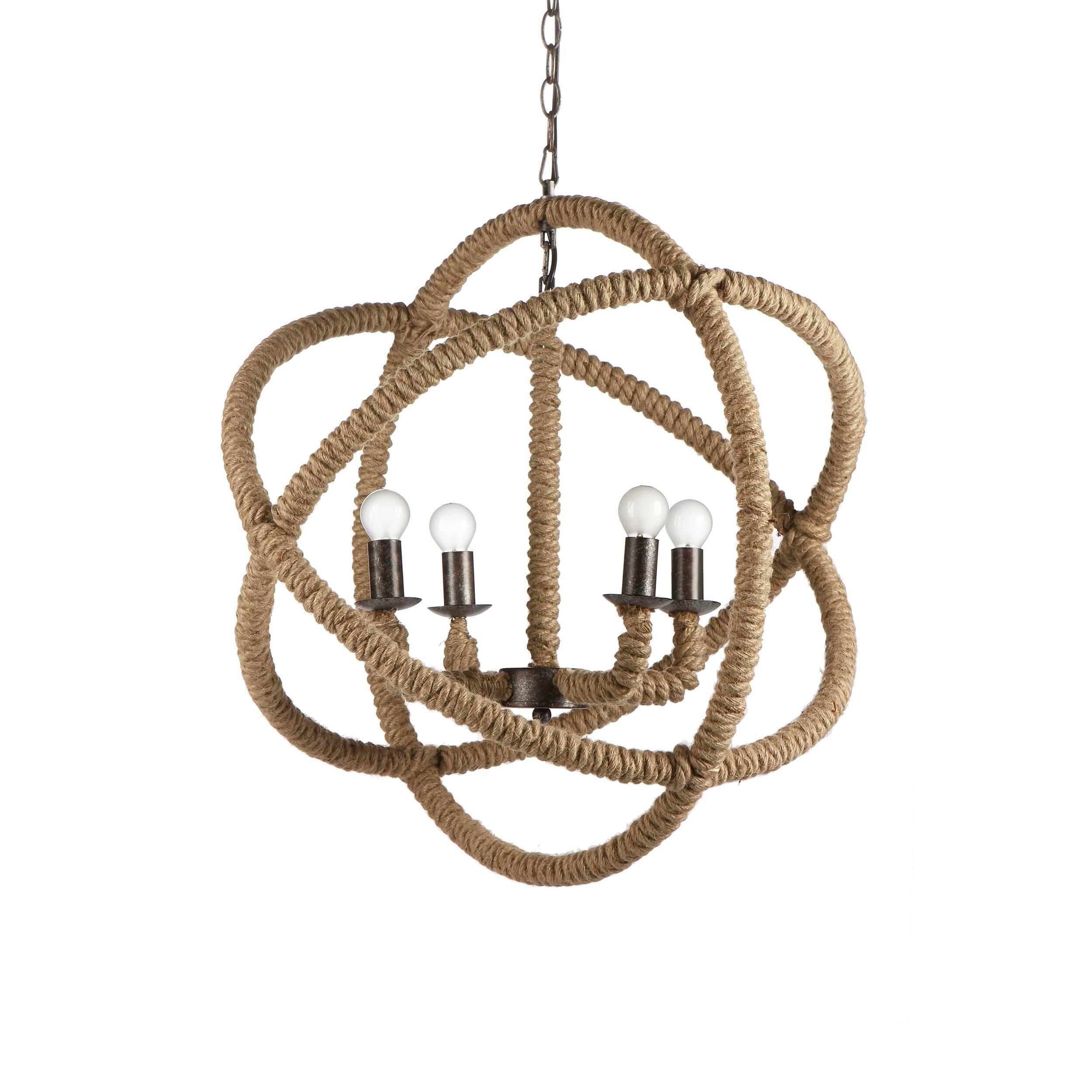 Подвесной светильник La сuerdaПодвесные<br>Плетеная мебель и аксессуары не теряют популярности на выставках и дизайнерских биеннале благодаря своей универсальности, натуральности и приятным оттенкам и текстуре.<br><br><br> По-испански la cuerda означает «канат», «веревка», и название свое этот светильник получил не зря. Создавая его, дизайнеры вдохновлялись морскими канатами и узлами из плотной бечевки, а еще затейливым макраме. К хитросплетениям конструкции этой лампы они добавили и чуть-чуть Средневековья — черно-серый металлический ...<br><br>stock: 1<br>Длина: 60<br>Длина провода: 150<br>Количество ламп: 4<br>Материал абажура: Веревки<br>Материал арматуры: Металл<br>Мощность лампы: 40<br>Ламп в комплекте: Нет<br>Напряжение: 220<br>Тип лампы/цоколь: E14<br>Цвет абажура: Дерево<br>Цвет арматуры: Черно-серый<br>Цвет провода: Черный