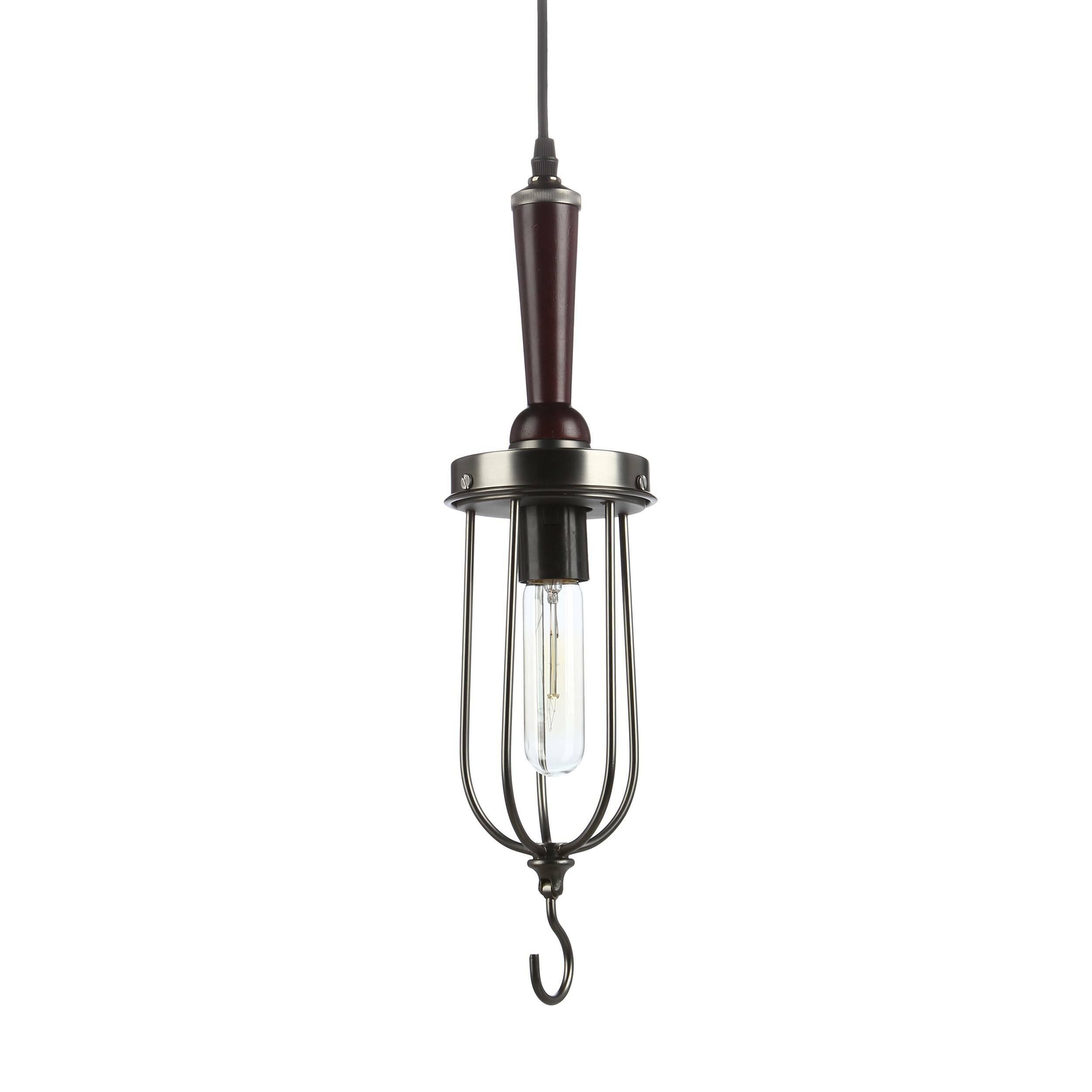 Подвесной светильник Handle HookПодвесные<br>Как вы смотрите на интерьерный дизайн в современном стиле лофт? Если вы можете по-достоинству оценить уникальную роскошь и изысканность неординарного сочетания производственных элементов с современным комфортом и классическими чертами, то популярный нью-йоркский стиль вам непременно придется по душе. Если вы решили оформить свое жилище в стиле лофт — обратите особое внимание на привлекательный подвесной светильник Handle Hook.<br><br><br> Подвесной светильник Handle Hook изготовлен из первоклас...<br><br>stock: 5<br>Высота: 45<br>Длина: 11<br>Количество ламп: 1<br>Материал абажура: Сталь<br>Мощность лампы: 40<br>Ламп в комплекте: Нет<br>Напряжение: 220<br>Тип лампы/цоколь: E27<br>Цвет абажура: Черно-серый<br>Цвет провода: Черный