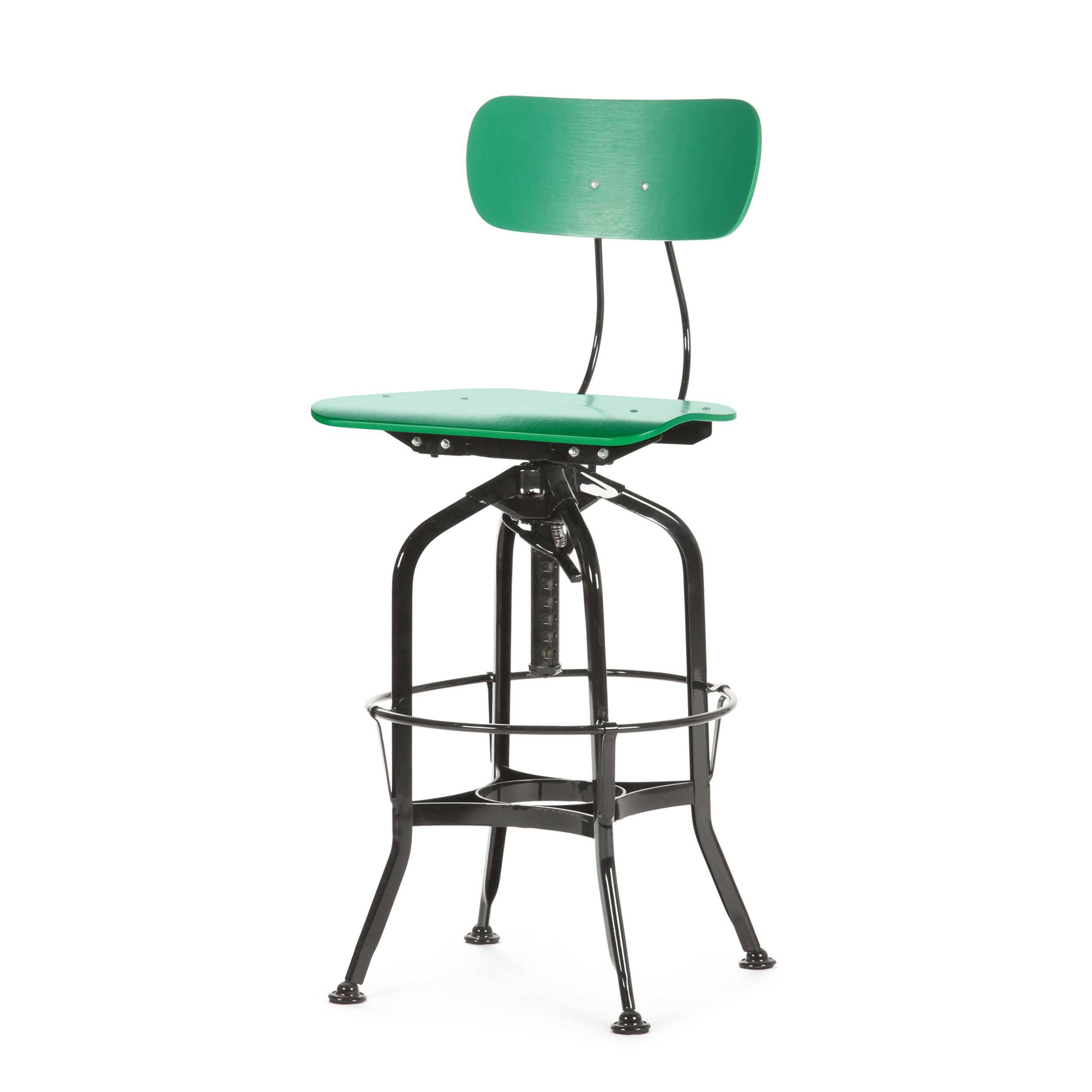Барный стул Toledo WoodБарные<br>Дизайнерский цветной барный стул Toledo Wood (Толедо Вуд) из фанеры на черных ножках от Cosmo (Космо). <br><br> Целевыми помещениями для использования стульев Toledo изначально были офисы, заводы, аптеки и тому подобные места. Однако под влиянием веяний модных дизайнерских тенденций появилась новая модель — для ресторанов, молодежных клубов и баров.<br><br><br> Замысловатый каркас из стали, выполненный в черном или металлическом цвете, представлен системой «паучьи лапки», как назвали это сами дизайне...<br><br>stock: 0<br>Высота: 97<br>Высота сиденья: 64-75<br>Ширина: 42<br>Глубина: 48<br>Цвет ножек: Черный<br>Материал сидения: Фанера, шпон дуба<br>Цвет сидения: Зеленый<br>Тип материала сидения: Дерево<br>Тип материала ножек: Сталь