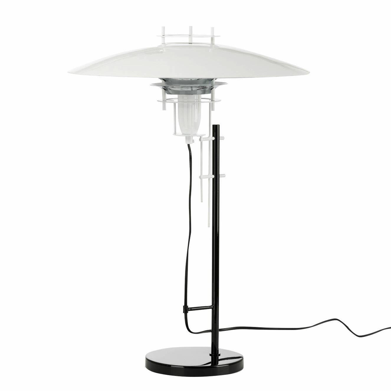 Настольный светильник JL2PНастольные<br>Дизайнерский настольный светильник JL2P (ЖЛ2П) в стиле хай-тек от Cosmo (Космо).<br><br><br> Наличие четких и ясных геометрических форм, минимализм и техногенность — эти черты присущи популярному сегодня стилю хай-тек. Металл и стекло, большей частью используемые в этом стиле, визуально увеличивают пространство, придают помещению больше легкости и света.<br><br><br> Настольный оригинальный светильник JL2P от финского дизайнера Юхи Ильмари Лейвиска ярко выражает суть интерьера в стиле хай-тек: ничего л...<br><br>stock: 6<br>Высота: 61<br>Диаметр: 43<br>Количество ламп: 1<br>Материал абажура: Алюминий<br>Материал арматуры: Металл<br>Ламп в комплекте: Нет<br>Напряжение: 220<br>Тип лампы/цоколь: E27<br>Цвет абажура: Белый<br>Цвет арматуры: Черный