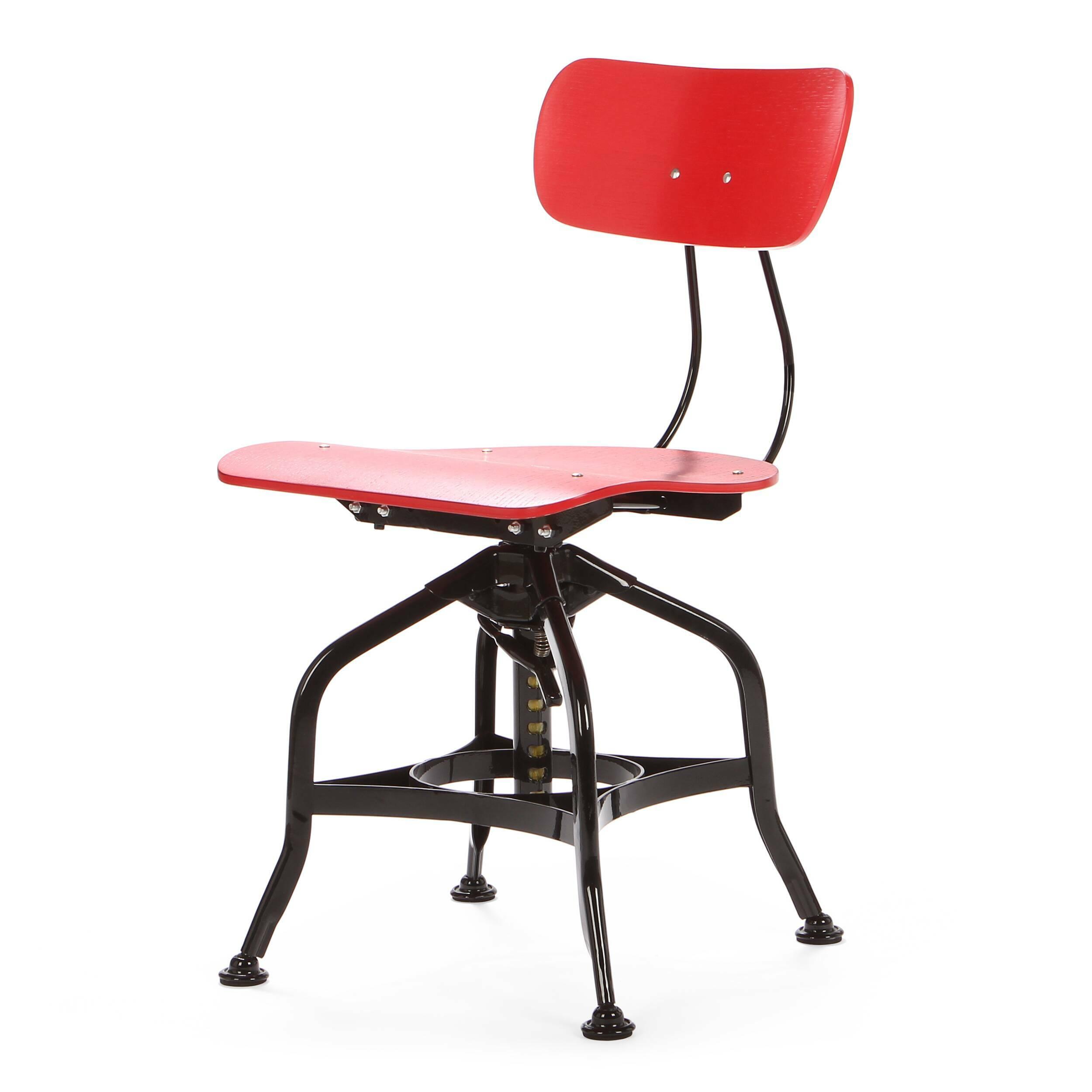 Стул ToledoИнтерьерные<br>Дизайнерский деревянный стул Toledo (Толедо) с регулировкой высоты от Cosmo (Космо).<br><br> Cтул Toledo 1920 года — прекрасный элемент интерьера в индустриальном стиле. Предмет функционален и лаконичен, при всей своей непритязательности он может стать выразительным акцентом, придав пространству особую атмосферу.<br><br><br> Сиденье и спинка изготовлены из натурального клена и имеют плавные эргономичные изгибы, специальный механизм позволяет менять высоту спинки. Хитрая система ножек из стали напомина...<br><br>stock: 17<br>Высота: 80<br>Высота сиденья: 42-53<br>Ширина: 42<br>Глубина: 48<br>Тип материала каркаса: Сталь<br>Материал сидения: Фанера, шпон дуба<br>Цвет сидения: Красный<br>Тип материала сидения: Дерево<br>Цвет каркаса: Черный
