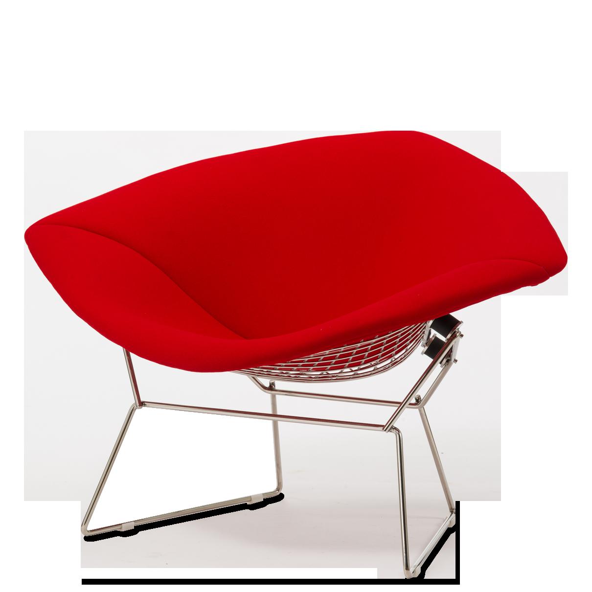 Кресло Diamond с обивкойИнтерьерные<br>Дизайнерское кресло Diamond (Даймонд) с красной тканевой обивкой на стальных ножках от Cosmo (Космо).<br><br><br> Кресло Diamond с обивкой прославило своего создателя, дизайнера Гарри Бертойю. Эта интересная и легкая на вид «сетчатая» мебель  обладает необычайно комфортным и функциональным дизайном.<br><br><br> Необычное сиденье прекрасно способствует отдыху и создает ощущение комфорта и релаксации. Сиденье закреплено на оригинальной металлической конструкции из стальной сетки, служащей опорой для сид...<br><br>stock: 0<br>Высота: 71,5<br>Высота сиденья: 40<br>Ширина: 114,5<br>Глубина: 81<br>Цвет ножек: Хром<br>Материал обивки: Шерсть, Нейлон<br>Коллекция ткани: T Fabric<br>Тип материала обивки: Ткань<br>Тип материала ножек: Сталь нержавеющая<br>Цвет обивки: Красный