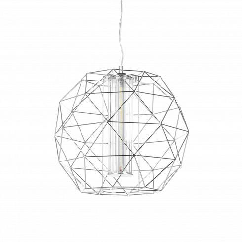 Подвесной светильник Diamond серебряныйПодвесные<br>Подвесной светильник Diamond Silver по праву можно назвать бриллиантом для любого интерьера. Сейчас стиль хай-тек, в котором выполнена эта вещь, особенно актуален.<br><br><br> Серебристо-металлический цвет, свойственный этому стилю, в этом случае играет дополнительную роль, создавая сходство с драгоценным камнем. В отличие от похожего на него серого цвета, хром имеет характерный блеск, который делает эту вещь стильной и современной. Еще одно преимущество хрома - это его нейтральность: она делае...<br>