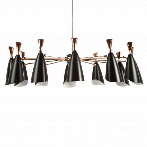 Подвесной светильник Duke Symmetry 12 лампПодвесные<br>Duke — это широкий модельный ряд подвесных и напольных светильников, выполненных в едином строгом стиле. Все они представляют собой уникальные изделия, дизайн которых гармонично сочетает в себе традиции и новаторства дизайнеров многих поколений. <br><br><br> Дизайнеров светильника вдохновило творческое наследие джазового музыканта с мировым именем Дюка Эллингтона, творившего в середине прошлого века.<br><br><br> Подвесной светильник Duke Symmetry 12 ламп — это 12 черных матовыхабажуров, соедин...<br>