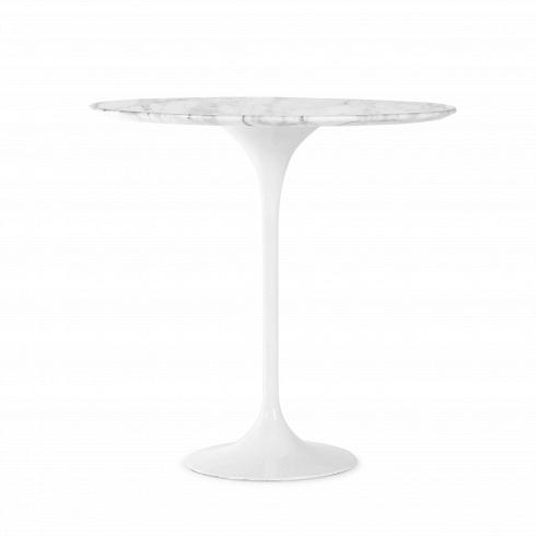 Кофейный стол Tulip с мраморной столешницей высота 52Кофейные столики<br>Укаждого знаменитого дизайнера прошлого столетия есть своя «формула вечного дизайна», азначит, есть ипроизведения дизайнерского искусства, которые уже много лет невыходят измоды, нетеряют своей актуальности ивостребованы посей день. Стол Tulip как раз был разработан при помощи такой формулы, которую вывел Ээро Сааринен, знаменитый американский архитектор ипромышленный дизайнер финского происхождения.<br><br><br> Изящная ножка-тюльпан и&amp;nbsp...<br><br>DESIGNER: Eero Saarinen