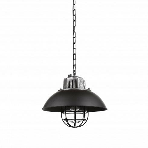 Подвесной светильник HoxtonПодвесные<br>Лофт — весьма оригинальный стиль, который допускает смешение совершенно разных направлений как в обстановке, так и в элементах декора. Ярким представителем стиля является подвесной светильник Hoxton — неповторимый дизайн, объединивший в себе черты нью-йоркского стиля и современного хай-тек-оформления.<br><br><br> Подвесной светильник Hoxton представляет собой необычную конструкцию из черного основания, плафона в виде круглого купола и необычной конструкции в виде клетки, в которую помещается ла...<br>