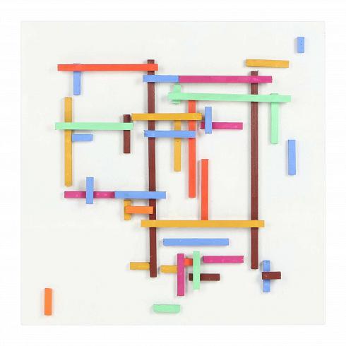 Картина FramesКартины<br>Компания Cosmo рада предложить любимый покупателями дизайн, доступный для различных по оформлению интерьеров. Большая часть продукции представлена в различных цветовых решениях, что открывает массу возможностей по использованию в разных по типу и дизайну помещениях. Картина Frames — это одна из вариаций оригинального белого панно, составленного с помощью небольших брусков. Ее цветной вариант— это более яркий и экспрессивный декор, который можно использовать как в помещениях, декорирован...<br>
