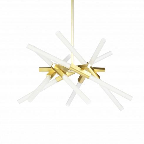 Подвесной светильник Astral AgnesПодвесные<br>Оригинальная геометрия светильника Agnes удачно дополнит интерьер спален, гостиных и офисных помещений. Стеклянные плафоны, закреплённые на алюминиевом каркасе, отражают веяния современного стиля и радуют функциональностью, максимально наполняя пространство светом. Сдержанная цветовая палитра позволит вам наиболее выигрышно расставить акценты и смягчит колористическое решение интерьера.<br><br><br> Автор данной модели – Линдси Адамс Адельман, превратившая осветительные приборы в предмет востор...<br>