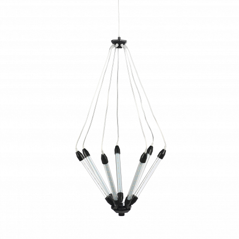 Подвесной светильник Kroon 7Подвесные<br>Подвесной светильник Kroon 7 - это особый дизайн, созданный с любовью к техно-стилю.7 отдельных трубок со встроенными LED лампочками объединены в одну конструкцию, которая по необычной задумке дизайнера предполагает подвижность. С помощью подъемного механизма вы с легкостью можете по-разному направлять свет и менять высоту. Это очень удобно в помещениях с невысокими потолками, но не менее удобно и в лофт-квартирах.<br><br><br>Прочный металлический сплав из которого изготовлена конструкция...<br>