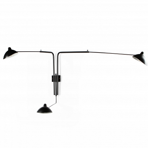 Настенный светильник Sconce 1Настенные<br>Простой иэлегантный, этот напольный светильник поставит новый акцент винтерьере вашего помещения. Три вращающихся игнущихся «руки» разной длины слампами могут быть изогнуты любым понравившимся вам способом, таким образом, направление света тоже может изменяться.<br><br><br> Эффектное освещение, которое дополнительно подчеркнет необычность убранства вашей квартиры.<br><br>DESIGNER: Serge Mouille