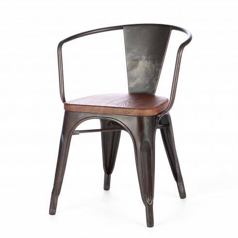 Стул Marais ArmsИнтерьерные<br>В далеком 1934 году дизайнер Ксавье Пошар разработал стул Marais из гальванизированного металла.<br><br><br> Монолитная конструкция ножек с арочными сводами укреплена двумя перпендикулярными перемычками. Конструкция из стали, окрашенной в цвет пушечной бронзы, радует глаз гладкостью полировки. Сиденье из натуральной ивы, состаренной искусственным методом, прекрасно гармонирует с бронзовым оттенком кресла.<br><br><br> В этом предмете все продумано до мелочей, тело человека в нем принимает естественн...<br><br>DESIGNER: Xavier Pauchard