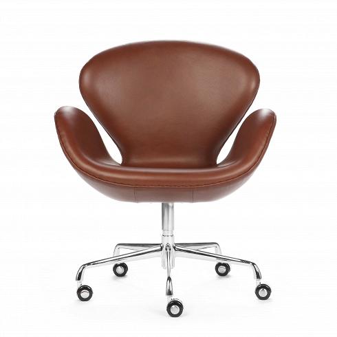 Кресло Swan кожаное на колесикахОфисные<br><br>