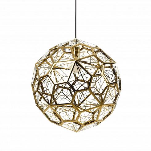 Подвесной светильник Etch Web диаметр 55Подвесные<br>ETCH WEB— это лампа необычной открытой структуры сбольшим абажуром размером 65см, отбрасывающая угловатые, острые тени. Экспериментальная структура лампы представляет собой пятиугольник неправильной формы, который повторяется 60 раз вокруг центральной оси, создавая общую сферу.<br><br><br>Лампа вкаком-то смысле представляет собой еще один эксперимент дизайнера. Светильник ETCH WEB выполнен изнержавеющей стали взолоте ихроме.<br><br>DESIGNER: Tom Dixon