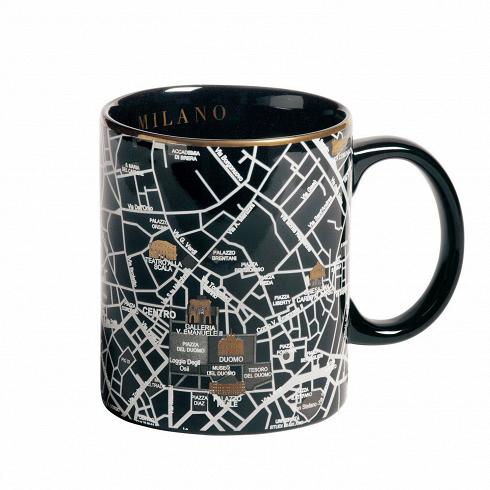 Кружка MilanoПосуда<br>Кружка Milano — это кружка, украшенная изображением территории города Милана спригородами. Она выполнена вчерном цвете сзолотыми элементами. Кружка входит вколлекцию издевяти дизайнерских кружек сизображением крупных городов совсего мира.<br><br><br><br><br><br><br> Дизайнерские тарелки изсоответствующей коллекции делают эти кружки просто идеальной столовой комбинацией, подходящей как для завтрака, так иобеда иужина внепринужденной о...<br>