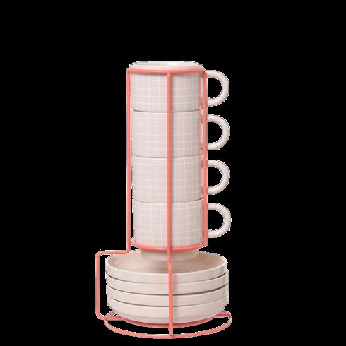 Набор из 4 чашек с блюдцами GridПосуда<br>Набор из4 чашек сблюдцами Grid отлично подойдет для утреннего кофе ираскрасит ваш день.<br>Нежный набор из4 чашек сблюдцами Grid судобной подставкой сохранит вашу кухню впорядке. Сет занимает мало места иосвежает интерьер, аваши гости обязательно обратят внимание наинтересный дизайнерский набор.<br>