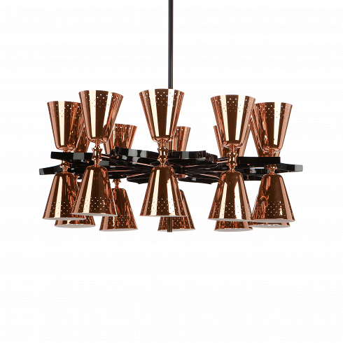 Подвесной светильник CharlesПодвесные<br>Подвесной светильникCharles выполнен в стиле конструктивизма. Он также отлично впишется в интерьеры в стиле модерн. Симметричная композиция из 20 абажуров не только красива, но и функциональна. 20 лампвнутри этих абажуровспособны залить светом пространство значительных размеров — их количество и металлический глянец определенно внесли своюлепту.<br> <br> Изделие оснащено длинным электрическим кабелем, благодаря чему оно подходит помещениям с высокими потолками. Строгая гео...<br>