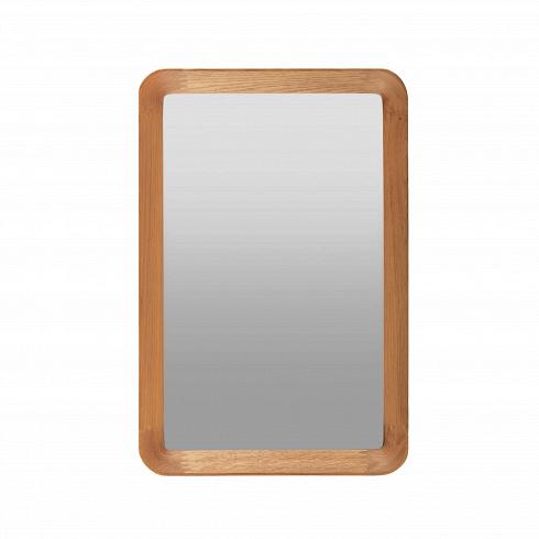 Настенное зеркало Velodrome прямоугольноеНастенные<br>«Я буду долго гнать велосипед» — всплывает в голове строчка из популярного шлягера при взгляде на это геометричное зеркало с запоминающимся названием. Похожими ассоциациями руководствовался и его создатель, дизайнер из Канзаса Шон Дикс, который славится своими лаконичными творениями без лишних деталей.<br><br><br> Однажды он рассматривал фактурные следы от шин на велодроме и решил воссоздать поверхность и текстуру в контрасте гладкого стекла и чуть неровной и шероховатой натуральной рамы из де...<br>