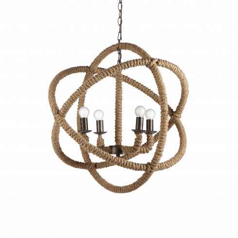 Подвесной светильник La сuerdaПодвесные<br>Плетеная мебель и аксессуары не теряют популярности на выставках и дизайнерских биеннале благодаря своей универсальности, натуральности и приятным оттенкам и текстуре.<br><br><br> По-испански la cuerda означает «канат», «веревка», и название свое этот светильник получил не зря. Создавая его, дизайнеры вдохновлялись морскими канатами и узлами из плотной бечевки, а еще затейливым макраме. К хитросплетениям конструкции этой лампы они добавили и чуть-чуть Средневековья — черно-серый металлический ...<br>