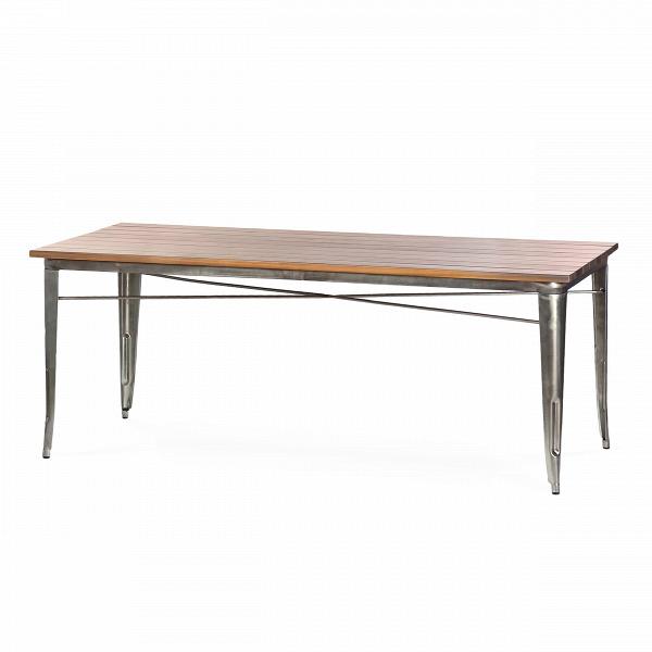 Обеденный стол Marais длина 190Обеденные<br>Дизайнерская длинный легкий обеденный стол Marais (Марейс) длина 190 с металлическим каркасом и столешницей из массива тика от Cosmo (Космо).<br>         Если вы еще не слышали о коллекции мебели Marais, то сообщаем, что это линейка мебели, состоящая из различных столов, кресел и стульев, которая с момента своего создания в тридцатых годах успела стать современной классикой. Ее дизайнер изначально трудился над созданием мебели для заводов и фабрик. Но дизайн так понравился потребителю, что со в...<br><br>stock: 0<br>Высота: 73<br>Ширина: 90<br>Длина: 190<br>Цвет ножек: Бронза пушечная<br>Цвет столешницы: Коричневый<br>Материал столешницы: Массив тика<br>Тип материала столешницы: Дерево<br>Тип материала ножек: Сталь<br>Дизайнер: Xavier Pauchard