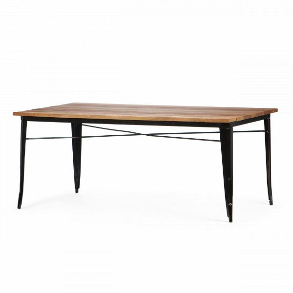 Обеденный стол Marais длина 190Обеденные<br>Дизайнерская длинный легкий обеденный стол Marais (Марейс) длина 190 с металлическим каркасом и столешницей из массива тика от Cosmo (Космо).<br>         Если вы еще не слышали о коллекции мебели Marais, то сообщаем, что это линейка мебели, состоящая из различных столов, кресел и стульев, которая с момента своего создания в тридцатых годах успела стать современной классикой. Ее дизайнер изначально трудился над созданием мебели для заводов и фабрик. Но дизайн так понравился потребителю, что со в...<br><br>stock: 0<br>Высота: 73<br>Ширина: 90<br>Длина: 190<br>Цвет ножек: Черный<br>Цвет столешницы: Коричневый<br>Материал столешницы: Массив тика<br>Тип материала столешницы: Дерево<br>Тип материала ножек: Сталь<br>Дизайнер: Xavier Pauchard