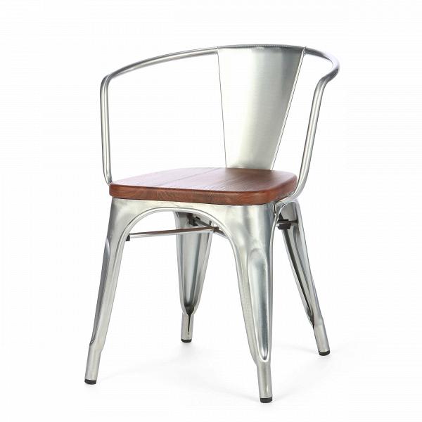 Стул Marais ArmsИнтерьерные<br>Дизайнерский креативный стул Marais Arms (Мэрейс Эрмс) из металла и дерева от Cosmo (Космо)<br><br><br> В далеком 1934 году дизайнер Ксавье Пошар разработал стул Marais из гальванизированного металла.<br><br><br> Монолитная конструкция ножек с арочными сводами укреплена двумя перпендикулярными перемычками. Конструкция из стали, окрашенной в цвет пушечной бронзы, радует глаз гладкостью полировки. Сиденье из натуральной ивы, состаренной искусственным методом, прекрасно гармонирует с бронзовым оттенком ...<br><br>stock: 20<br>Высота: 72<br>Высота сиденья: 45<br>Ширина: 54<br>Глубина: 53<br>Тип материала каркаса: Сталь<br>Материал сидения: Массив ореха<br>Цвет сидения: Орех<br>Тип материала сидения: Дерево<br>Цвет каркаса: Гальванизированный<br>Дизайнер: Xavier Pauchard