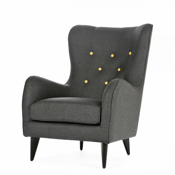 Кресло PolaИнтерьерные<br>Дизайнерское мягкое удобное кресло Pola (Пола) с тканевой обивкой от Sits (Ситс).<br><br><br> Дизайнеры компании Sits, чья мебель имеет выраженные шведские черты, не перестает радовать новыми моделями мягкой мебели. Изящные и невероятно удобные формы кресла Pola помогут вам расслабиться и отдохнуть даже в самый разгар трудового дня. На выбор имеется большое количество вариантов цветового исполнения обивки кресла, благодаря чему вы легко подберете именно то, что лучше всего подойдет вашей комнате...<br><br>stock: 1<br>Высота: 102<br>Высота сиденья: 45<br>Ширина: 77<br>Глубина: 96<br>Цвет ножек: Черный<br>Материал обивки: Шерсть, Полиамид<br>Степень комфортности: Стандарт комфорт<br>Материал пуговиц: Шерсть, Полиамид<br>Цвет пуговиц: Желтый<br>Коллекция ткани: Категория ткани III<br>Тип материала обивки: Ткань<br>Тип материала ножек: Дерево<br>Цвет обивки: Темно-серый