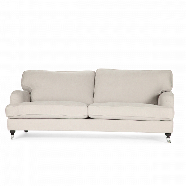 Диван HowardТрехместные<br>Дизайнерский двухместный диван Howard (Говард) с тканевой обивкой на деревянных ножках от Sits (Ситс).<br> Стать любимцем всей семьи и главным героем гостиной? Легко! Диван Howard создан специально для этого. Главный девиз европейской мебельной компании Sits — «комфортная жизнь». Именно поэтому изделия Sits отличаются удобством и внешней привлекательностью.<br><br><br> Мягкие подушки, удобные лаконичные подлокотники, приятный жемчужно-бежевый оттенок обивки — все это делает оригинальный диван Howar...<br><br>stock: 1<br>Высота: 84<br>Высота сиденья: 44<br>Глубина: 102<br>Длина: 205<br>Цвет ножек: Черный<br>Материал обивки: Хлопок, Лен<br>Степень комфортности: Стандарт комфорт<br>Коллекция ткани: Категория ткани II<br>Тип материала обивки: Ткань<br>Тип материала ножек: Дерево<br>Цвет обивки: Серо-бежевый